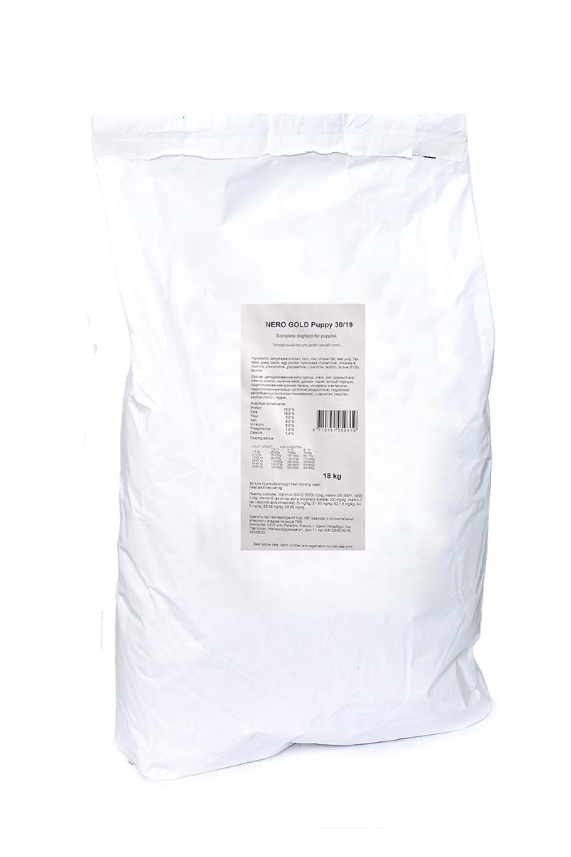 NERO GOLD super premium Для Щенков: Курица и рис (Puppy 30/19), 18 кг.0120710Состав: дегидрированное мясо курицы, маис, рис, куриный жир, мякоть свеклы, льняное семя, дрожжи, кэроб, яичный порошок, гидролизированная куриная печень, минералы и витамины, гидролизованные хрящи (источник хондроитина), гидролизат ракообразных (источник глюкозамина), L-карнитин, лецитин, инулин (ФОС), таурин. Условия хранения: в прохладномтемном месте.