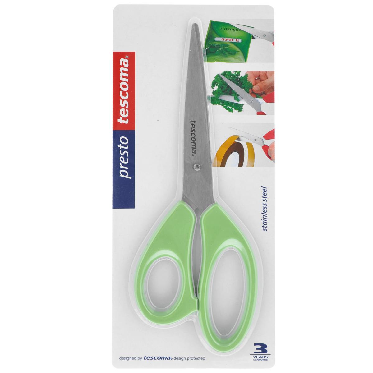 Ножницы Tescoma Presto, цвет: салатовый, длина 22 см888214_салатовыйУниверсальные ножницы Tescoma Presto предназначены для дома и офиса, пригодны для резки всех обычных материалов - бумаги, ткани и т.д. Ими также удобно нарезать зелень, разрезать пакеты. Лезвия изготовлены из первоклассной нержавеющей стали, а рукоятки - из пластика. Длина ножниц: 22 см.