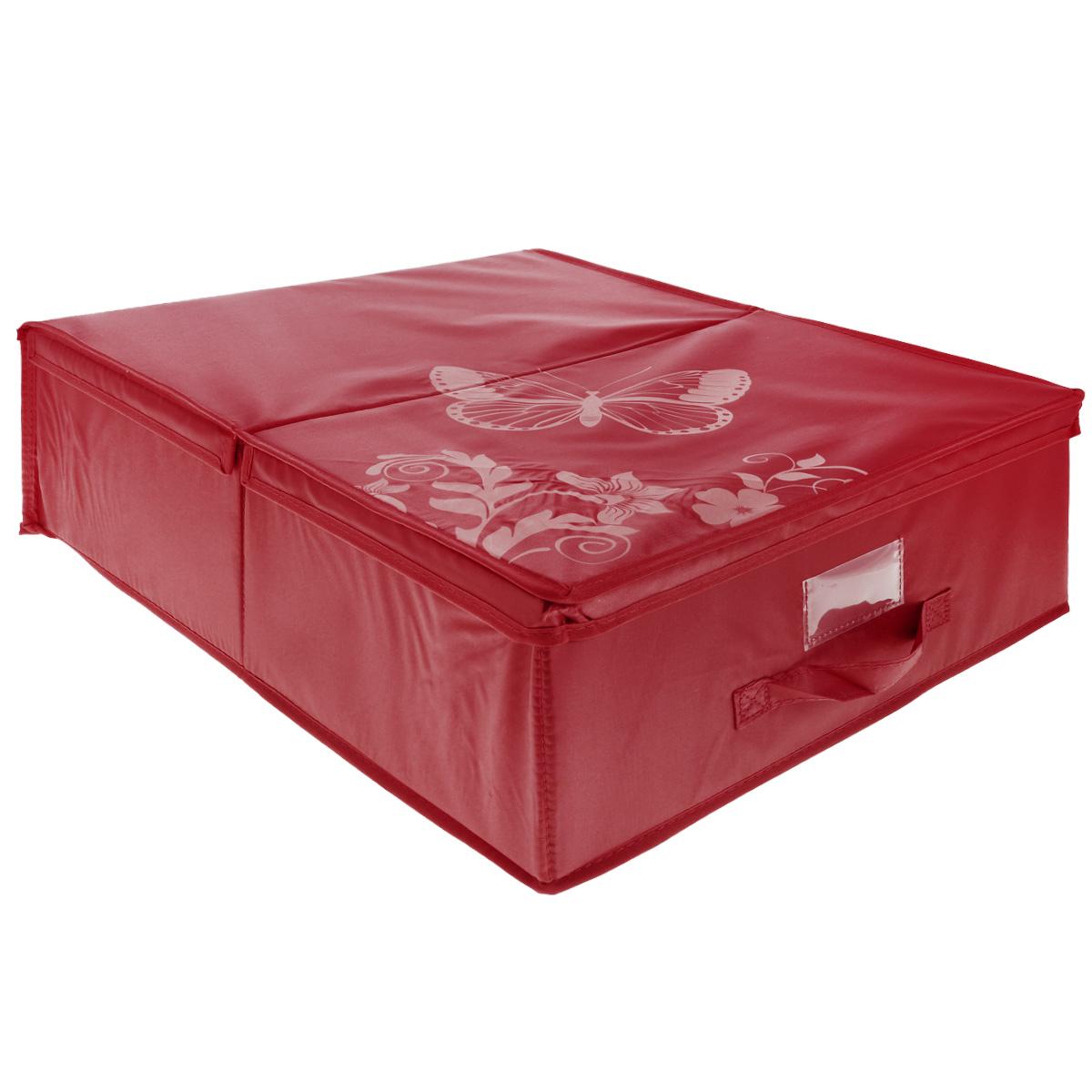 Кофр подкроватный Hausmann Butterfly, цвет: красный, 43 см х 54 см х 18 см4P-103-4СПодкроватный кофр для хранения Hausmann Butterfly поможет легко организовать пространство в шкафу или в гардеробе, компактные формы позволяют хранить его под кроватью. Изделие выполнено из нетканого материала и полиэстера с защитой от пыли. Кофр держит форму благодаря жесткой вставке из картона, которая устанавливается на дно. Боковая поверхность оформлена красивым принтом и изображением бабочки. Имеется ручка, крышка и прозрачный карман для пометки содержимого. В таком кофре удобно хранить одежду, текстиль и различные аксессуары.