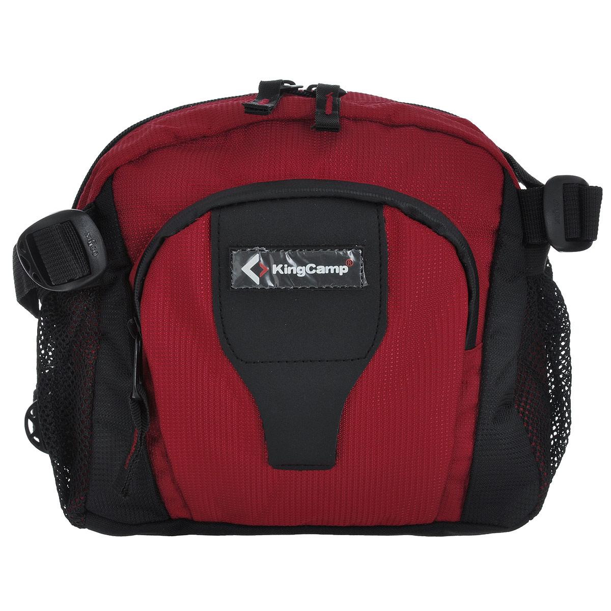 Сумка поясная KingCamp Jordan, цвет: красныйУТ-000049351Поясная сумка KingCamp Jordan изготовлена из полиэстера. Сумка имеет 1 основное отделение, которое закрывается на застежку молнию. Внутри отделения находится накладной карман на застежке-молнии, а также карабин для ключей. На лицевой стороне расположен накладной карман с мягким покрытием на застежке-молнии с 2 сетчатыми кармашками внутри. По бокам сумки расположены 2 сетчатых кармана. Такая сумка отлично подойдет любителям фитнеса и пробежек. В нее можно положить необходимые вещи, такие как плеер, ключи, телефон, не боясь, что они потеряются. Сумка крепится на пояс при помощи ремня с пластиковым карабином. Максимальная длина пояса: 95 см.