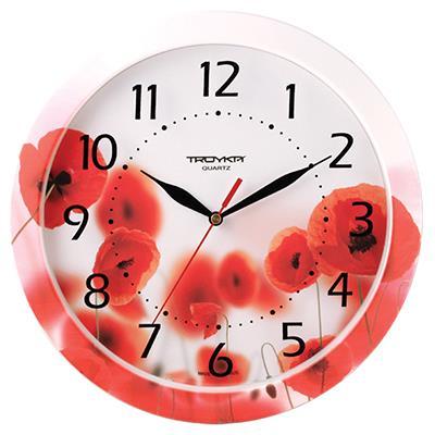 Часы настенные Troyka, цвет: красный. 1100000911000009Настенные кварцевые часы Troyka с изображением маков, изготовленные из пластика, прекрасно подойдут под интерьер вашего дома. Круглые часы имеют три стрелки: часовую, минутную и секундную, циферблат защищен прозрачным пластиком. Диаметр часов: 29 см. Часы работают от 1 батарейки типа АА напряжением 1,5 В. Внимание! Часы укомплектованы бесплатным тестовым элементом питания для обеспечения их работоспособности при предпродажной подготовке и демонстрации рабочих функций.