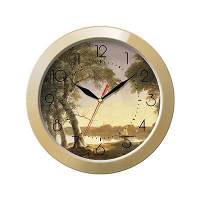 Часы настенные Troyka, цвет: бежевый. 1117117511171175Настенные кварцевые часы Troyka с изображением пейзажа, изготовленные из пластика, прекрасно подойдут под интерьер вашего дома. Круглые часы имеют три стрелки: часовую, минутную и секундную, циферблат защищен прозрачным пластиком. Диаметр часов: 29 см. Часы работают от 1 батарейки типа АА напряжением 1,5 В. Внимание! Часы укомплектованы бесплатным тестовым элементом питания для обеспечения их работоспособности при предпродажной подготовке и демонстрации рабочих функций.