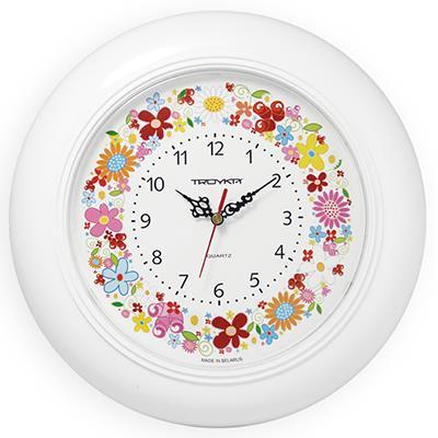 Часы настенные Troyka Цветочки, цвет: белый71711238Настенные кварцевые часы Troyka Цветочки в классическом стиле, изготовленные из пластика, прекрасно подойдут под интерьер вашего дома. Круглые часы имеют три стрелки: часовую, минутную и секундную, циферблат защищен прозрачным пластиком. Диаметр часов: 30 см. Часы работают от 1 батарейки типа АА напряжением 1,5 В. Внимание! Часы укомплектованы бесплатным тестовым элементом питания для обеспечения их работоспособности при предпродажной подготовке и демонстрации рабочих функций.