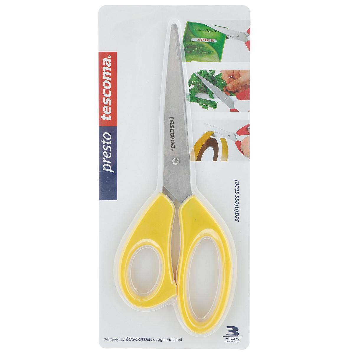 Ножницы Tescoma Presto, цвет: желтый, длина 22 см888214_желтыйУниверсальные ножницы Tescoma Presto предназначены для дома и офиса, пригодны для резки всех обычных материалов - бумаги, ткани и т.д. Ими также удобно нарезать зелень, разрезать пакеты. Лезвия изготовлены из первоклассной нержавеющей стали, а рукоятки - из пластика. Длина ножниц: 22 см.