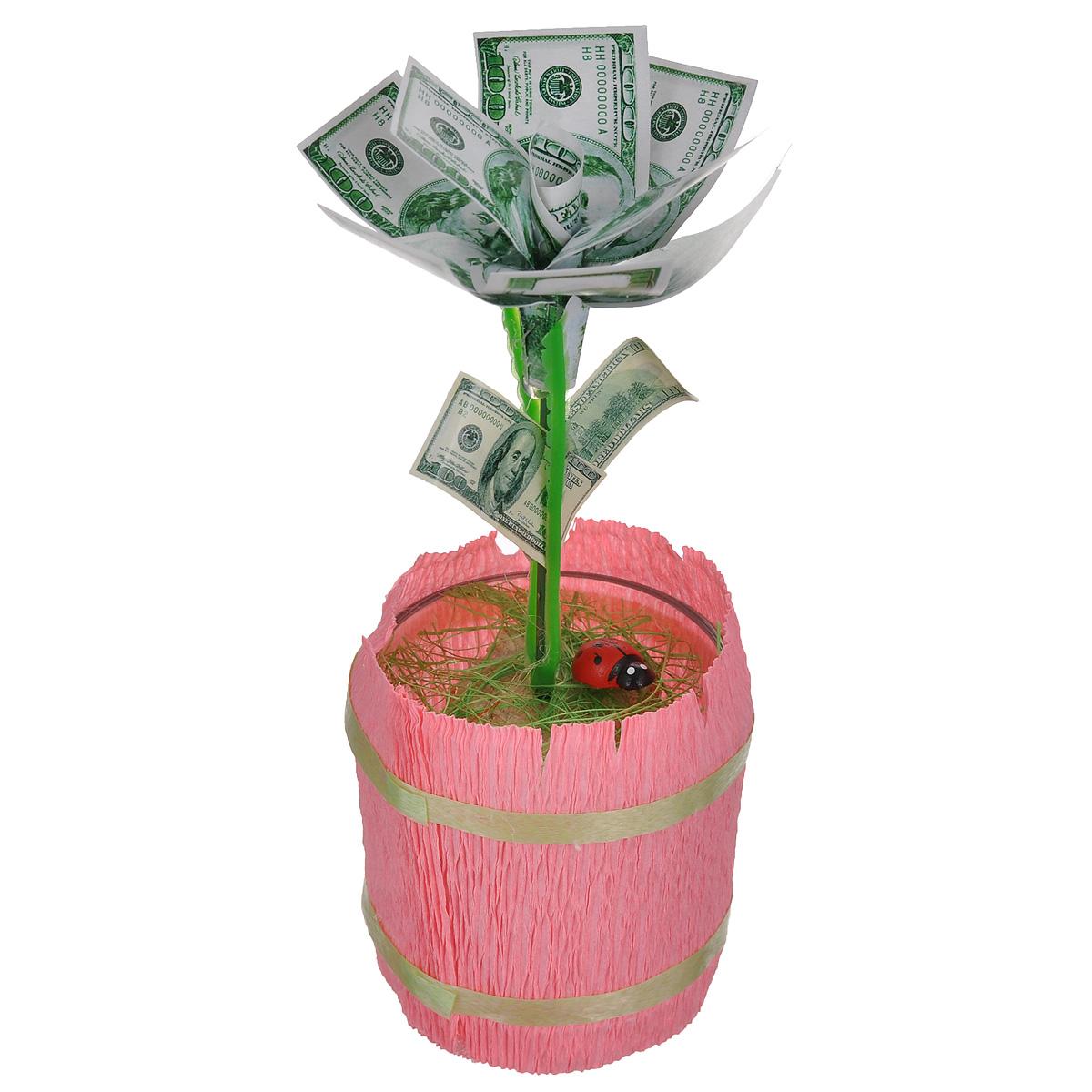 Денежный цветок Расцвет бизнеса. Доллары, цвет: розовый, зеленый, белый89968Настольная композиция Расцвет бизнеса. Доллары выполнена в виде симпатичного денежного цветка. На пластиковый стебель цветка насажены миниатюрные купюры достоинством в 100 долларов. Цветок закреплен в стеклянном стакане-горшочке, оформленном гофрированной бумагой. У основания цветка расположена забавная божья коровка. Такой симпатичный денежный цветок будет отличным подарком к любому случаю! Высота цветка: 14 см. Диаметр цветка: 6 см.