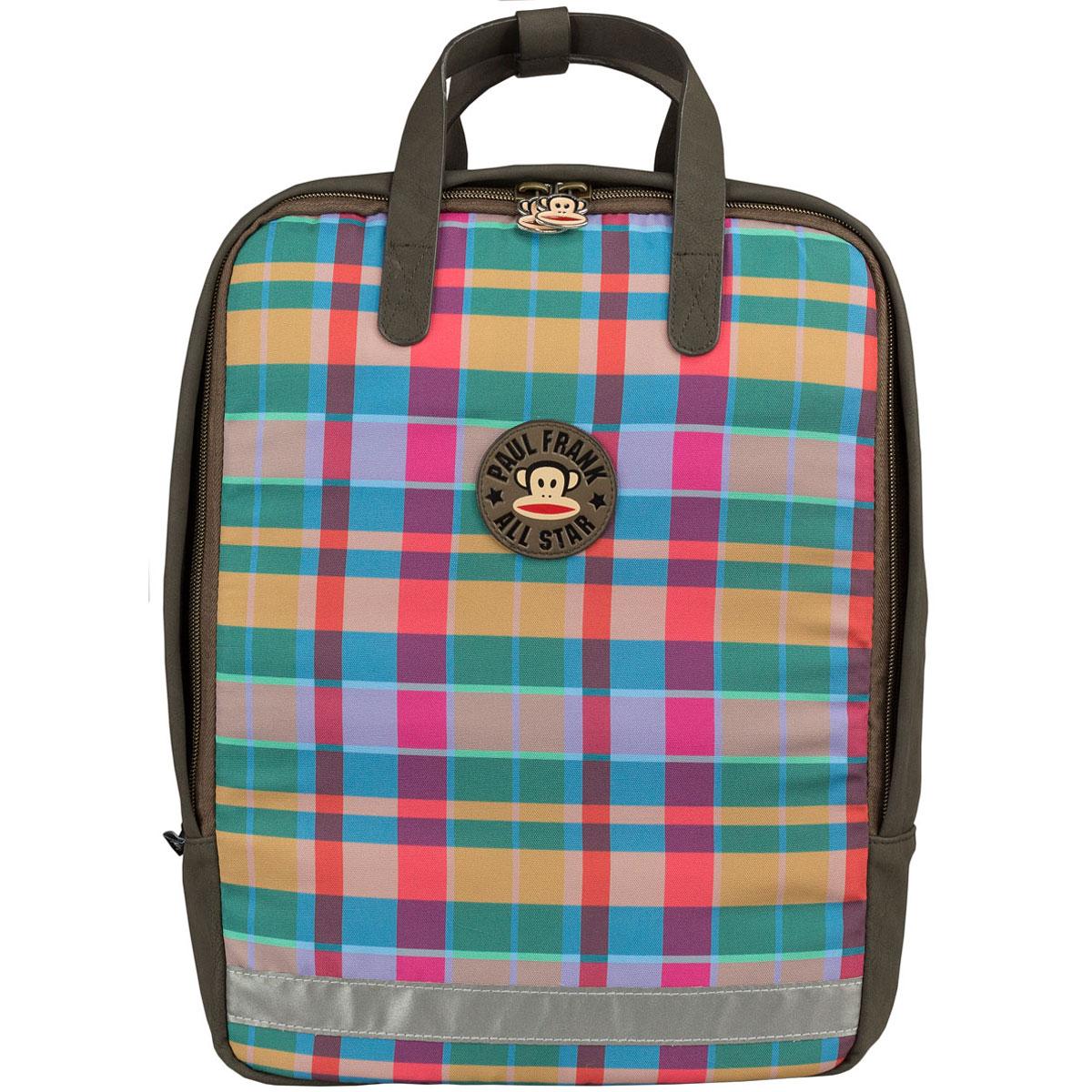Сумка-рюкзак молодежная Paul Frank, цвет: коричневый, мультицветPFCB-UT1-615Молодежная сумка-рюкзак Paul Frank выполнена из высококачественных материалов. Содержит одно вместительное отделение на застежке-молнии с двумя бегунками. Внутри отделения находится мягкий карман для гаджетов, прорезной карман на застежке-молнии и два открытых кармашка. Дно сумки-рюкзака можно сделать жестким, разложив специальную пластиковую панель. Мягкие широкие регулируемые по длине лямки, при желании их можно убрать в специальное отделение на спинке. Фронтальная сторона изделия уплотнена поролоном. Сверху сумка-рюкзак оснащена петлей для подвешивания и двумя ручками для переноски в руке, а с помощью фиксатора на кнопке их можно соединить в одну. Светоотражающие элементы обеспечивают дополнительную безопасность в темное время суток. Такую сумку-рюкзак можно использовать для повседневных прогулок, отдыха и спорта, а также как элемент вашего имиджа. Рекомендуемый возраст: от 13 лет.