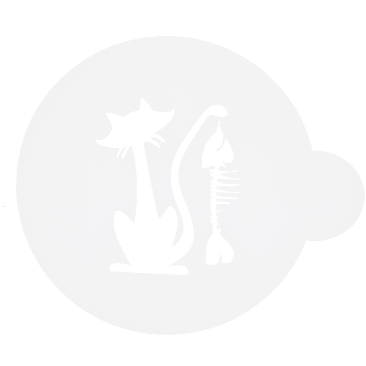 Трафарет на кофе и десерты Леденцовая фабрика Кошка с рыбой, диаметр 10 см94672Трафарет представляет собой пластину с прорезями, через которые пищевая краска (сахарная пудра, какао, шоколад, сливки, корица, дробленый орех) наносится на поверхность кофе, молочных коктейлей, десертов. Трафарет изготовлен из матового пищевого пластика 250 мкм и пригоден для контакта с пищевыми продуктами. Трафарет многоразовый. Побалуйте себя и ваших близких красиво оформленным кофе.