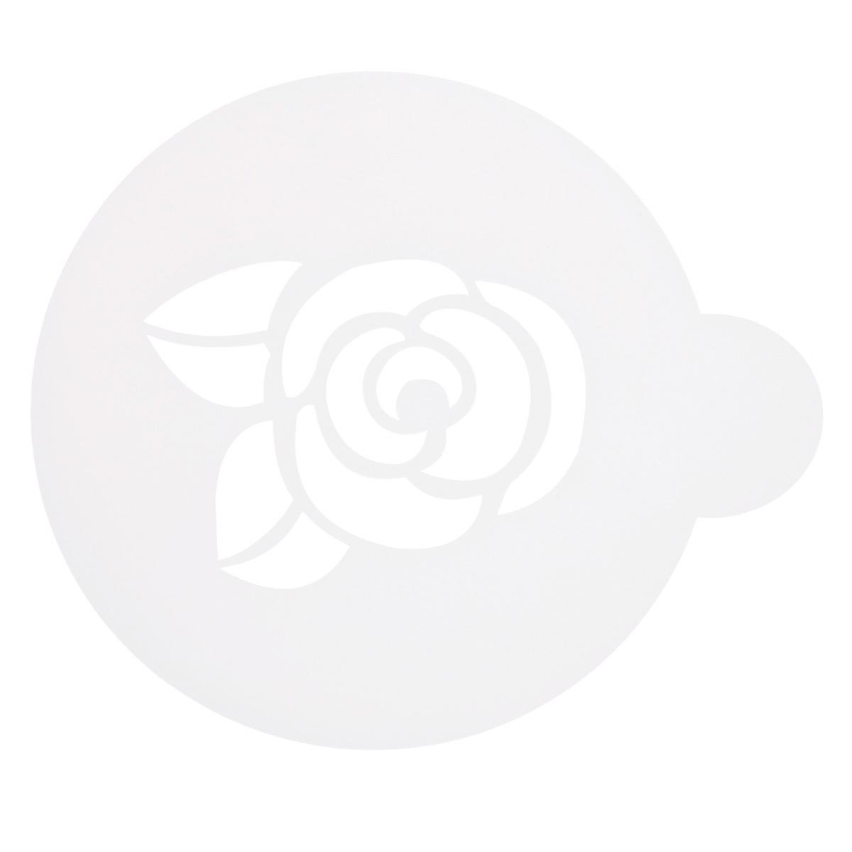 Трафарет на кофе и десерты Леденцовая фабрика Розочка, диаметр 10 смТ014Трафарет представляет собой пластину с прорезями, через которые пищевая краска (сахарная пудра, какао, шоколад, сливки, корица, дробленый орех) наносится на поверхность кофе, молочных коктейлей, десертов. Трафарет изготовлен из матового пищевого пластика 250 мкм и пригоден для контакта с пищевыми продуктами. Трафарет многоразовый. Побалуйте себя и ваших близких красиво оформленным кофе.
