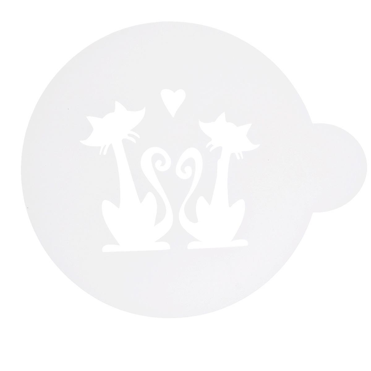 Трафарет на кофе и десерты Леденцовая фабрика Влюбленная парочка, диаметр 10 см94672Трафарет представляет собой пластину с прорезями, через которые пищевая краска (сахарная пудра, какао, шоколад, сливки, корица, дробленый орех) наносится на поверхность кофе, молочных коктейлей, десертов. Трафарет изготовлен из матового пищевого пластика 250 мкм и пригоден для контакта с пищевыми продуктами. Трафарет многоразовый. Побалуйте себя и ваших близких красиво оформленным кофе.