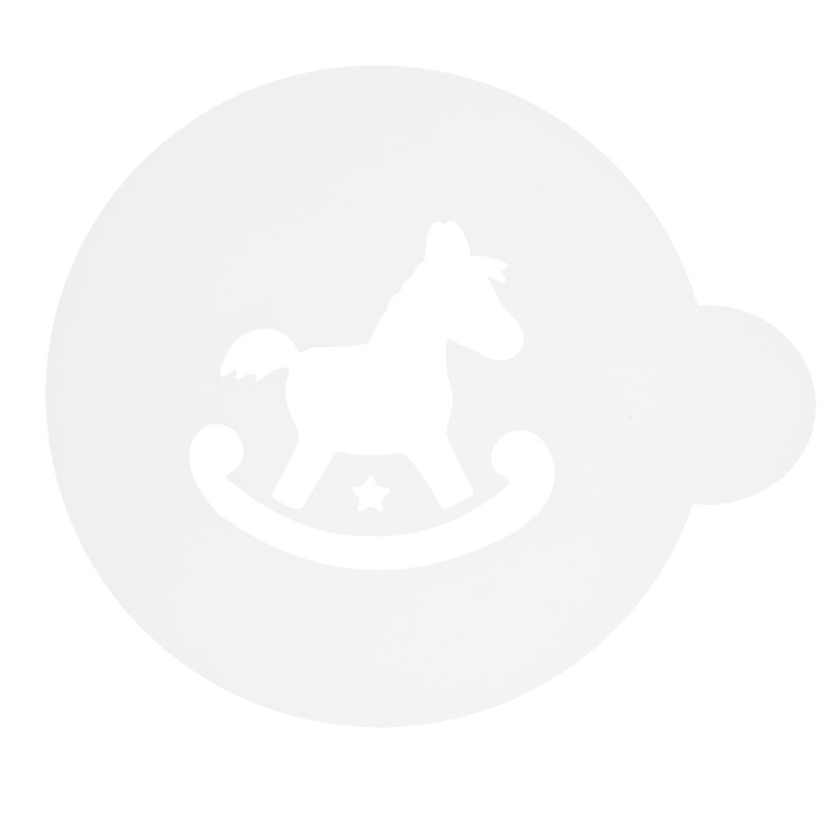 Трафарет на кофе и десерты Леденцовая фабрика Лошадка, диаметр 10 смТ026Трафарет представляет собой пластину с прорезями, через которые пищевая краска (сахарная пудра, какао, шоколад, сливки, корица, дробленый орех) наносится на поверхность кофе, молочных коктейлей, десертов. Трафарет изготовлен из матового пищевого пластика 250 мкм и пригоден для контакта с пищевыми продуктами. Трафарет многоразовый. Побалуйте себя и ваших близких красиво оформленным кофе.