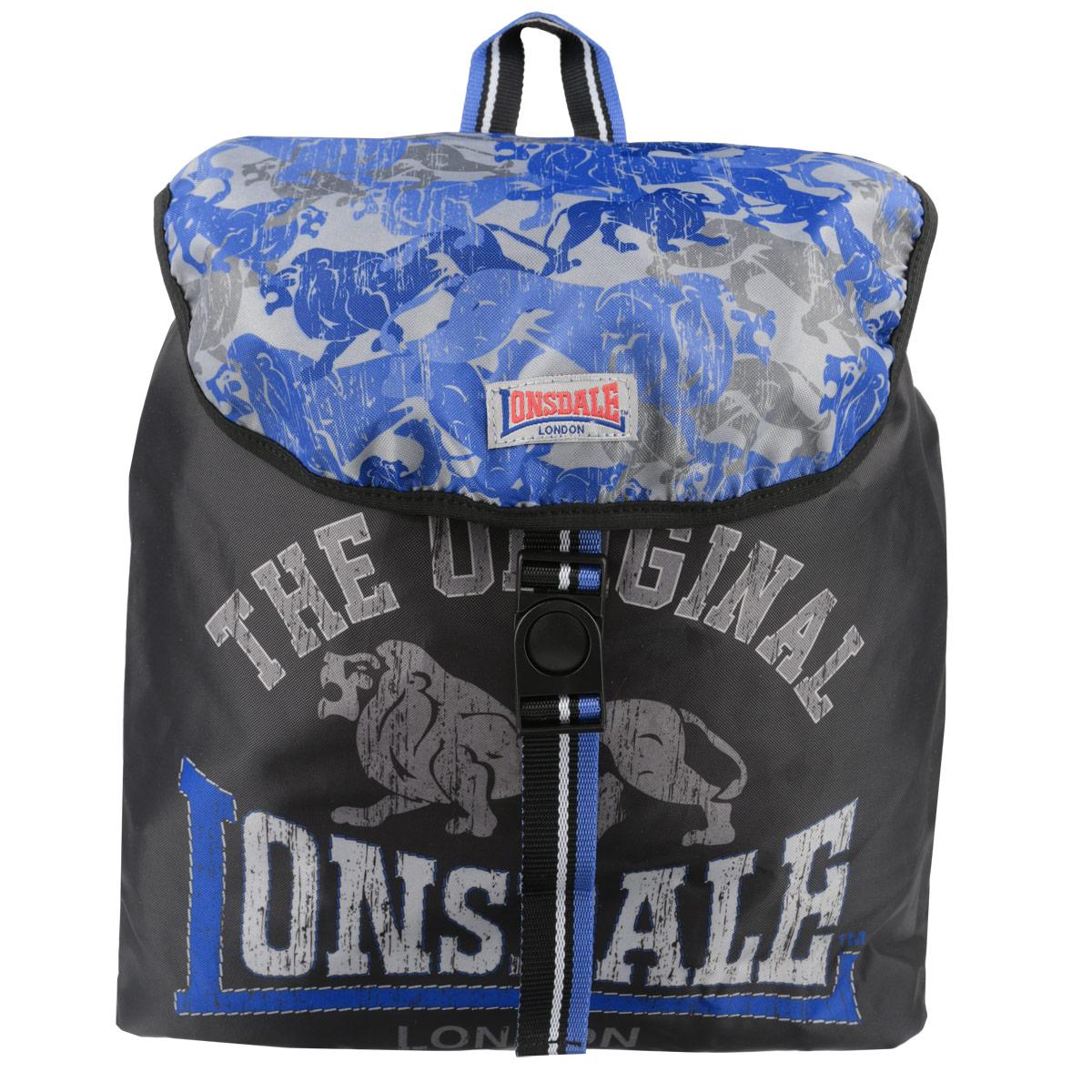 Рюкзак молодежный Lonsdale, цвет: черный, серый, голубой. LSCB-UT1-8444670018862011Молодежный рюкзак Lonsdale сочетает в себе современный дизайн и долговечность. Выполнен из прочных и высококачественных материалов с изображением льва.Содержит рюкзак одно вместительное отделение, которое затягивается шнурком с пластиковым фиксатором и сверху закрывается клапаном на защелке. Широкие лямки отлично регулируются по длине. Изделие оснащено текстильной ручкой для переноски в руке. Этот рюкзак можно использовать для повседневных прогулок, отдыха и спорта, а также как элемент вашего имиджа.Рекомендуемый возраст: от 15 лет.