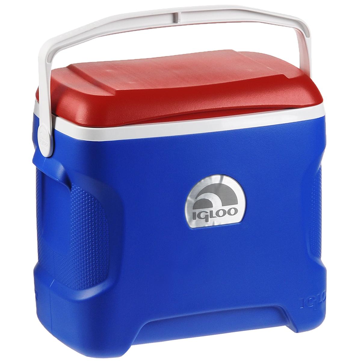 Изотермический контейнер Igloo Contour, цвет: синий, белый, красный, 28 л19201Легкий и прочный изотермический контейнер Igloo Contour, изготовленный из высококачественного пластика, предназначен для транспортировки и хранения продуктов и напитков. Корпус эргономичного дизайна, ударопрочный. Поддержание внутреннего микроклимата обеспечивается за счет термоизоляционной прокладки из пены Ultra Therm, способной удерживать температуру внутри корпуса до 24 часов. Для поддержания температуры использовать с аккумуляторами холода. Контейнер имеет усиленную ручку и широко открывающуюся крышку для легкого доступа к продуктам. Крышка плотно и герметично закрывается. Такой контейнер можно взять с собой куда угодно: на отдых, пикник, на дачу, катание на лодке. Размер: 46 см х 27 см х 43 см. Объем: 28 л.