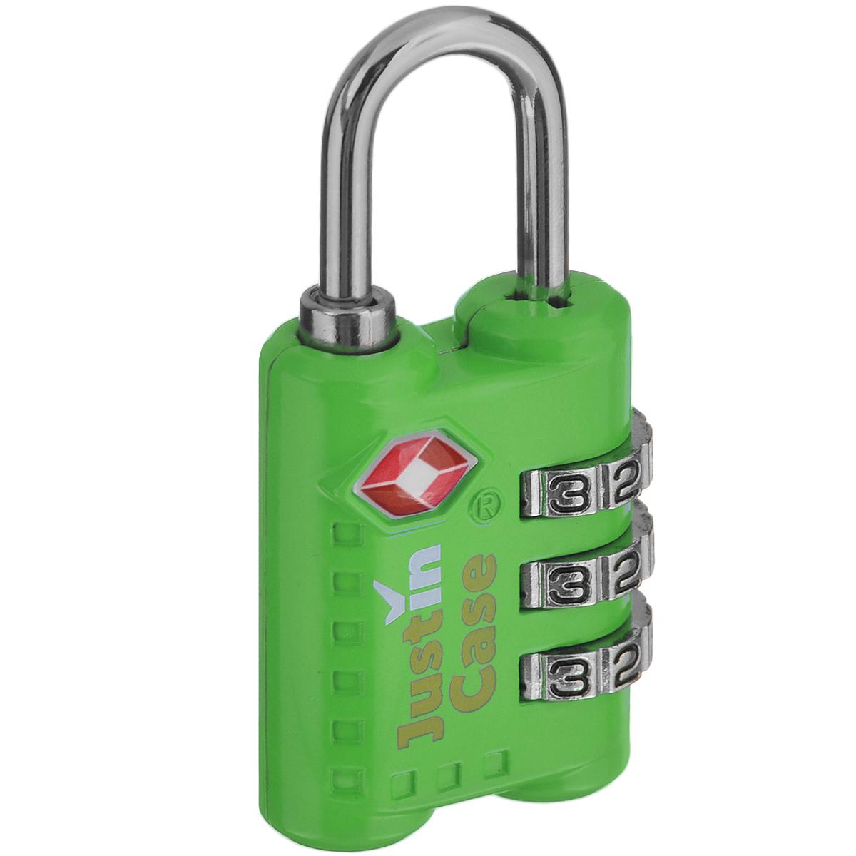 Замок для багажа JustinCase 3-Dial TSA Combination Lock, цвет: зеленыйП7079Еще один вариант защиты багажа - компактный кодовый багажный замок. Кодовый замок JustinCase 3-Dial TSA Combination Lock отличается от обычного тем, что вы можете установить собственную, известную только вам комбинацию цифр, без которой кодовый замок для багажа просто не откроется. Замок этот очень прочен - изготовлен из цинкового сплава. Если в вашем багаже есть хоть одна ценная вещь, такой замок позволит вам спокойно сдавать чемоданы и сумки багажным службам.