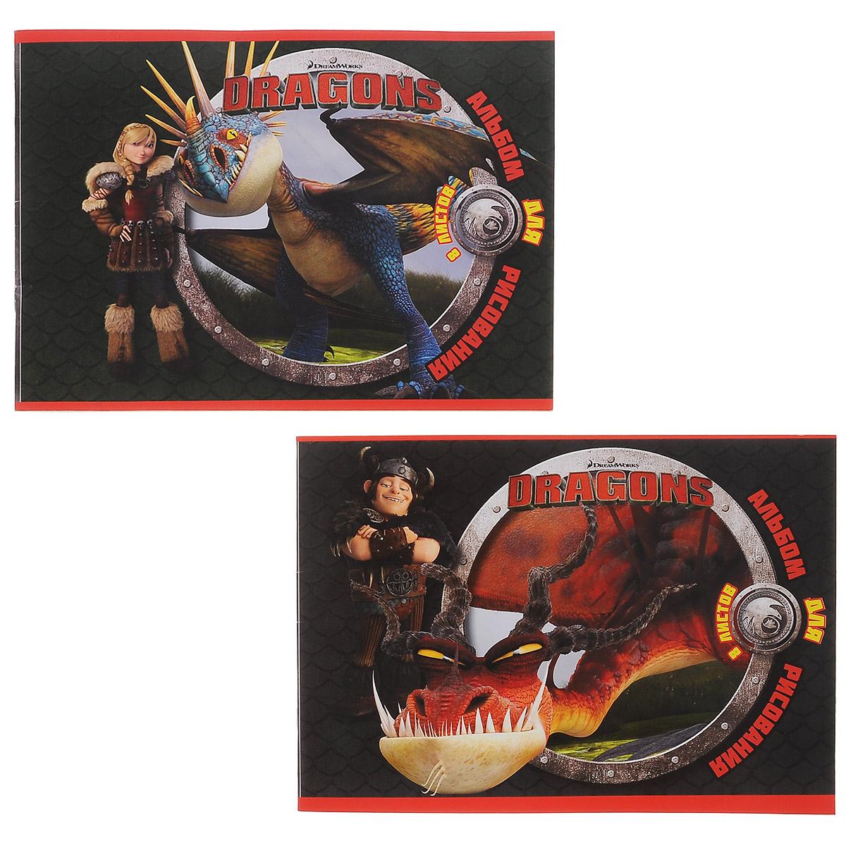 Набор альбомов для рисования Action! Dragons, 8 листов, 2 штDR-AA-8Альбом для рисования Action! Dragons порадует маленького художника и вдохновит его на творчество. Набор включает в себя 2 альбома, в каждом из которых по 8 листов белой бумаги. Высокое качество бумаги позволяет рисовать в альбоме карандашами, фломастерами, акварельными и гуашевыми красками. Обложка альбома выполнена из мелованного картона и оформлена изображением героев мультфильма Как приучить дракона. Создание собственных картинок приносит детям настоящее удовольствие. Увлечение изобразительным творчеством носит не только развлекательный характер, а также развивает цветовое восприятие, зрительную память и воображение. Рекомендуемый возраст: от 6 лет.