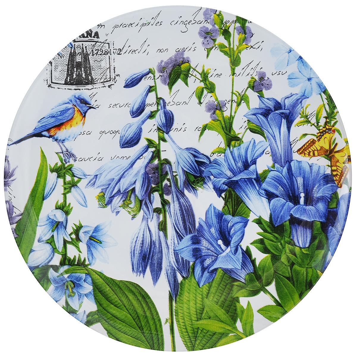 Тарелка Zibo Shelley Колокольчики, диаметр 25 смZSK3010L074Круглая тарелка Zibo Shelley Колокольчики, изготовленная из стекла, декорирована ярким изображением цветов. Она не только украсит сервировку вашего стола и подчеркнет прекрасный вкус хозяйки, но и станет отличным подарком. Можно использовать в посудомоечной машине и СВЧ. Диаметр: 25 см. Высота: 1,5 см.