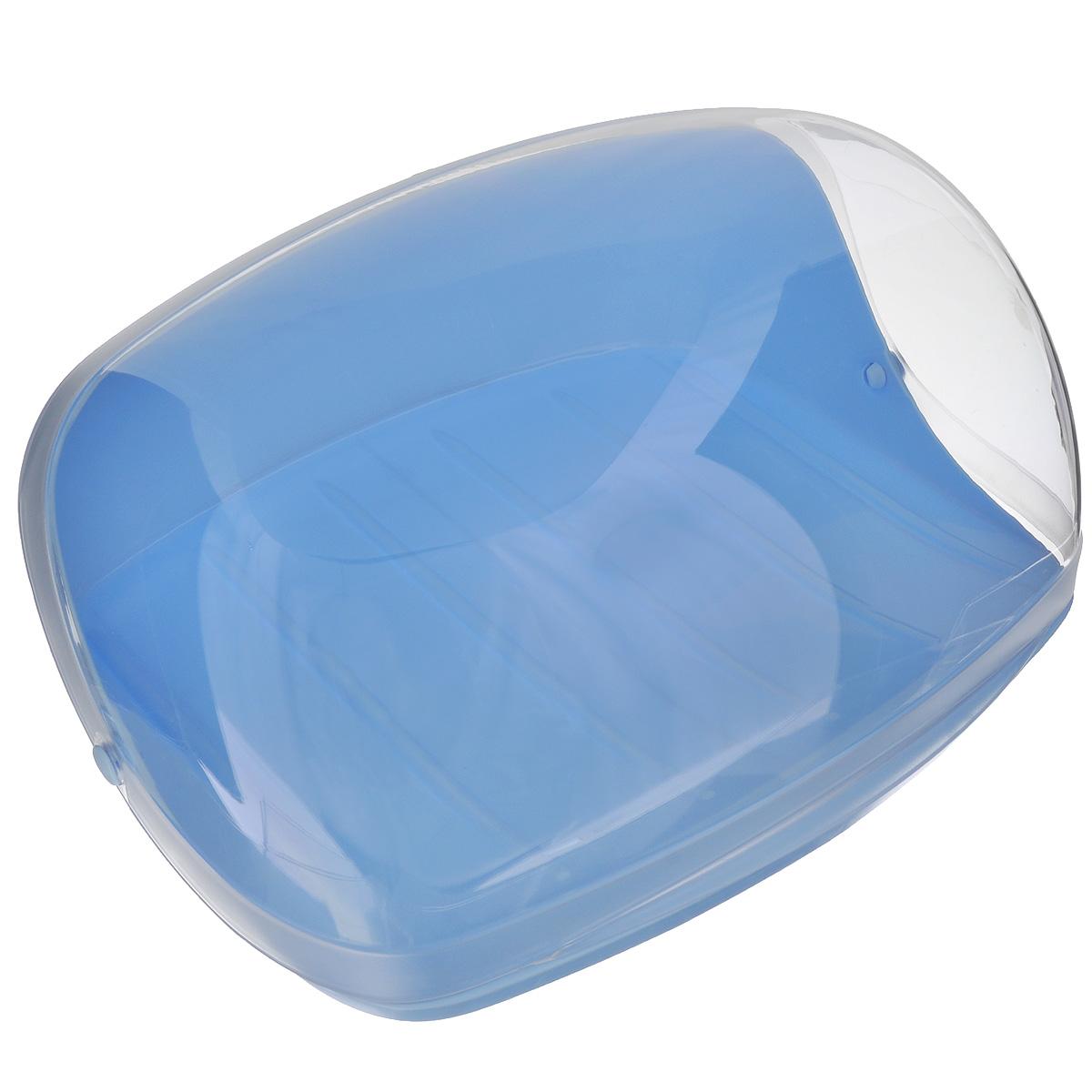 Хлебница Idea, цвет: голубой, прозрачный, 31 см х 24,5 см х 14 смМ 1180Хлебница Idea, изготовленная из пищевого пластика, обеспечивает идеальные условия хранения для различных видов хлебобулочных изделий, надолго сохраняя их свежесть. Изделие оснащено плотно закрывающейся крышкой, защищая продукты от воздействия внешних факторов (запахов и влаги). Вместительность, функциональность и стильный дизайн позволят хлебнице стать не только незаменимым аксессуаром на кухне, но и предметом украшения интерьера. В ней хлеб всегда останется свежим и вкусным.