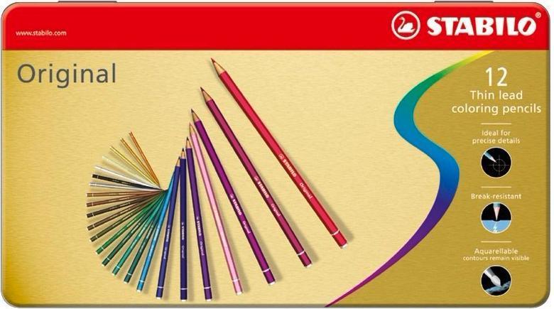 Набор цветных карандашей с тонким грифелем STABILO Original для графиков, художников 12 цв, металлический футляр8773-6Все творческие натуры хотят иметь в своем распоряжении только лучшее. Представленный STABILO ассортимент и очень широкая палитра цветов способны удовлетворить самые разные потребности сторонников всевозможных иехник рисования. Высококачественные, насыщенные красители гарантируют тонкую проработку цвета. все карандаши обеспечивают легкую смешиваемость красок, мягкие, однородные по цвету линии. Высокая степень пигментации гарантирует особую яркость цвета и исключительную покрывающую способность даже на темном фоне, а также высокую устойчивость к свету. Краски STABILO не блекнут со временем. Светоустойчивость карандашей обозначается различным количеством звездочек на корпусе: от 5 звездочек - высокая степень светоустойчивости до 1 звездочки - достаточная светоустойчивость.