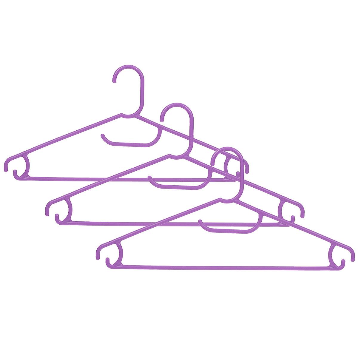 Набор вешалок Econova, цвет: сиреневый, размер 48, 3 штС12354_сиреневыйНабор Econova, выполненный из прочного пластика, состоит из 3 вешалок. Каждое изделие оснащено перекладиной, боковыми крючками, а также крючком для галстуков. Вешалка - это незаменимая вещь для того, чтобы ваша одежда всегда оставалась в хорошем состоянии. Комплектация: 3 шт. Размер одежды: 48.