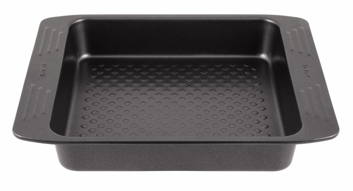 Форма для пирога Tefal EasyGrip, 21 х 21 см2100069674Форма для пирога Tefal EasyGrip выполнена из углеродистой стали с внутренним антипригарным покрытием с рифленой поверхностью. Углеродистая сталь это прочный, легкий и долговечный материал, который прекрасно проводит тепло, помогая выпечке хорошо подходить и равномерно пропекаться, и гарантирует всегда великолепный результат. Внешнее антипригарное покрытие формы выполнено в цвете черный металлик. Слой антипригарного покрытия полностью устраняет пригорание пирога и его прилипание к стенкам и дну. Выпечка легко извлекается из противня. Экологически безопасное антипригарное покрытие не содержит PFOA, свинца и кадмия. Форма выдерживает температуру до 210°C. Изделие нельзя мыть в посудомоечной машине, нельзя использовать в микроволновой печи. Использовать только пластиковые аксессуары. С такой формой вы всегда сможете порадовать своих близких оригинальной выпечкой. Внутренний размер формы: 21 см х 21 см. Размер формы с учетом ручек:...
