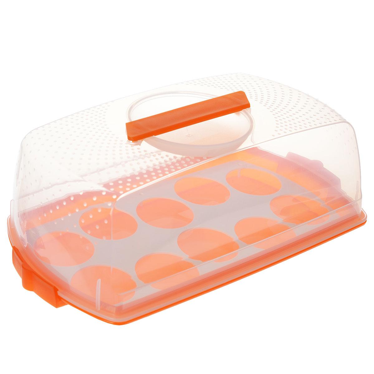 Тортница Cosmoplast Оазис, с защелками, цвет: прозрачный, оранжевый, 37 см х 19 см115510Тортница Cosmoplast Оазис изготовлена из высококачественного прочного пищевого пластика. Она состоит из прямоугольного поддона и прозрачной крышки. Благодаря двум защелкам крышка плотно сидит на подносе, что позволяет сохранить первоначальную свежесть торта и защитить его от посторонних запахов. Тортница имеет дополнительное пластиковое основание для удобной переноски небольших кексов и пирожных. Крышка тортницы снабжена эргономичной ручкой для комфортной переноски. Размер поддона: 37 см х 19 см. Высота борта: 2,5 см.Высота крышки: 10,5 см.
