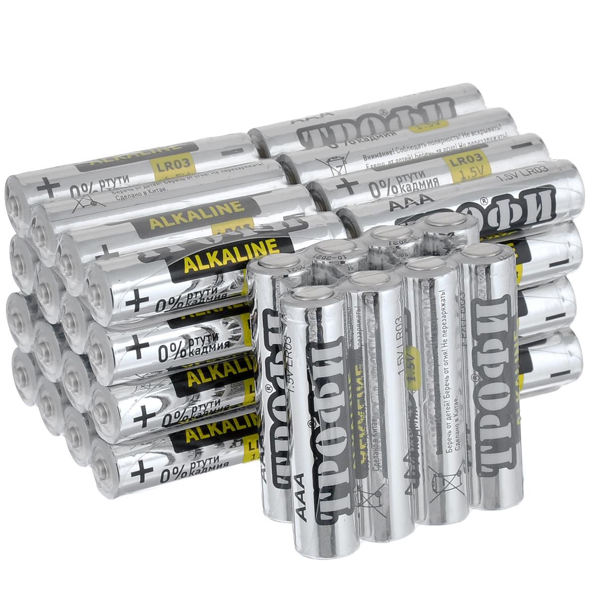 Батарейка алкалиновая Трофи, тип AAA (LR03), 1,5V, 40 штLR03.40Щелочные (алкалиновые) батарейки Трофи оптимально подходят для повседневного питания множества современных бытовых приборов: электронных игрушек, фонарей, беспроводной компьютерной периферии и многого другого. Не содержат кадмия и ртути. Батарейки созданы для устройств со средним и высоким потреблением энергии. Работают в 10 раз дольше, чем обычные солевые элементы питания.