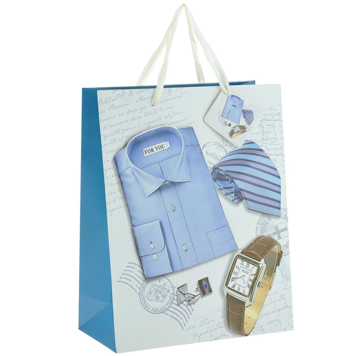Пакет подарочный Мужской стиль, 26 х 10 х 32 см1301-SB Пакет Мужской стильДизайнерский подарочный пакет Мужской стиль выполнен из плотной бумаги, оформлен изображением часов, галстука, запонок и аппликацией в виде синей рубашки. Дно изделия укреплено плотным картоном, который позволяет сохранить форму пакета и исключает возможность деформации дна под тяжестью подарка. Для удобной переноски имеются две атласные ручки. Подарок, преподнесенный в оригинальной упаковке, всегда будет самым эффектным и запоминающимся. Окружите близких людей вниманием и заботой, вручив презент в нарядном праздничном оформлении.