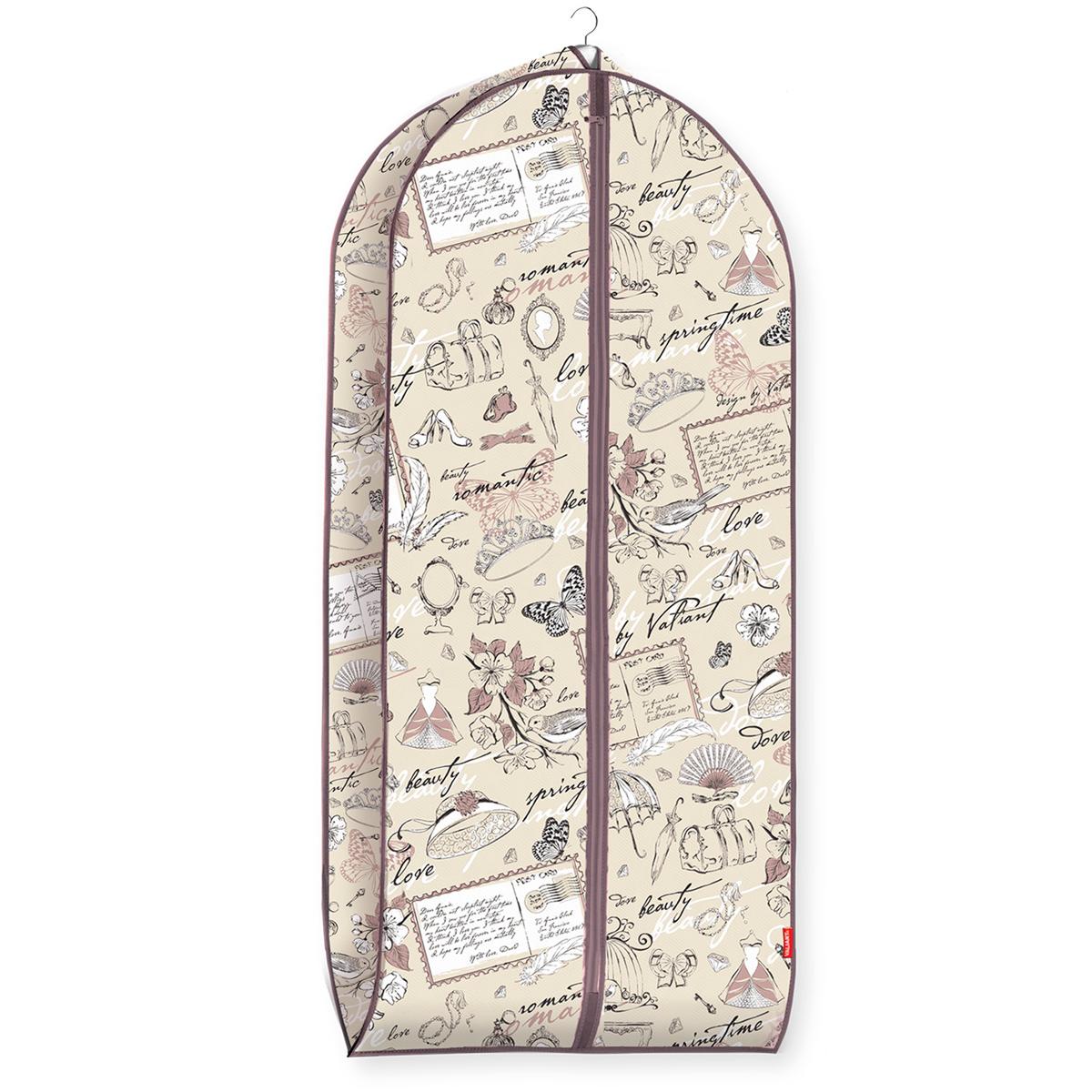 Чехол для одежды Valiant Romantic, объемный, 60 см х 137 см х 10 смUP210DFЧехол для одежды Valiant Romantic изготовлен из высококачественного нетканого материала (спанбонда), который обеспечивает естественную вентиляцию, позволяя воздуху проникать внутрь, но не пропускает пыль. Чехол очень удобен в использовании. Наличие боковой вставки увеличивает объем чехла, что позволяет хранить крупные объемные вещи. Чехол легко открывается и закрывается застежкой-молнией. Идеально подойдет для хранения одежды и удобной перевозки. Система хранения Romantic создаст трогательную атмосферу романтического настроения в женском гардеробе. Оригинальный дизайн придется по вкусу ценительницам эстетичного хранения. Системы хранения в едином дизайне сделают вашу гардеробную изысканной и невероятно стильной.