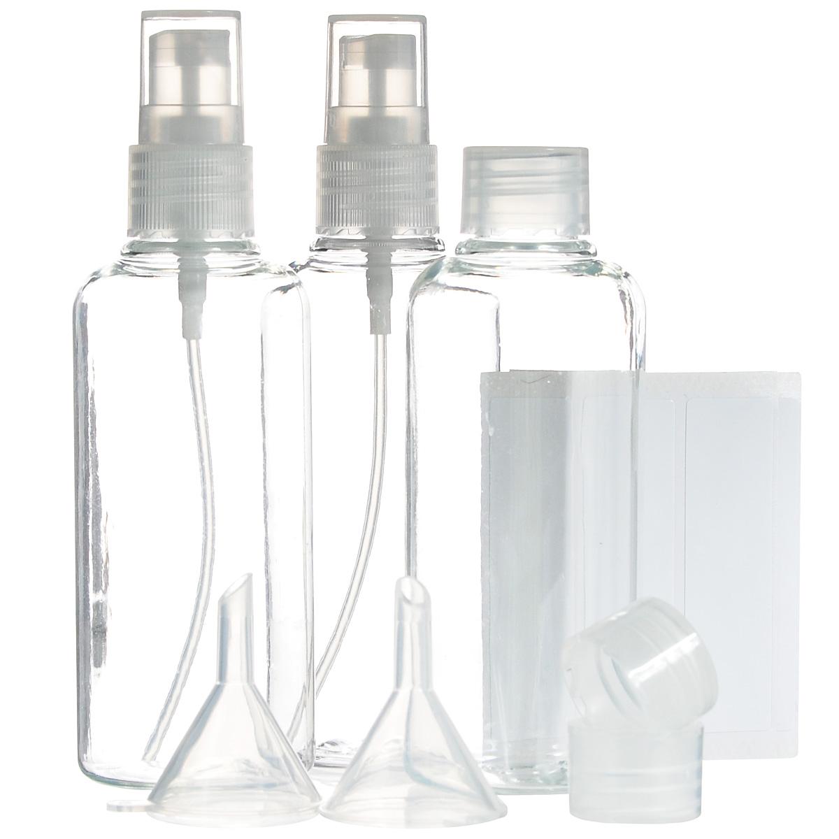 Набор контейнеров для жидкостей JustinCase, с аксессуарами, 12 предметовG5043Набор JustinCase состоит из 3 контейнеров, 2 крышек-диспансеров и 2 воронок. Контейнеры, изготовленные из пластика, прекрасно подойдут для жидких средств по уходу за телом и волосами (шампунь, кондиционер, гель для душа, массажное масло), которые вы хотите взять в дорогу. Все контейнеры можно использовать много раз. В комплекте такого дорожного набора - 5 упаковок наклеек для подписи содержимого контейнеров. Все предметы набора расположены в удобной пластиковой сумочке-чехле на змейке. Высота стенок контейнера: 9 см. Диаметр горлышка контейнера: 1,5 см.