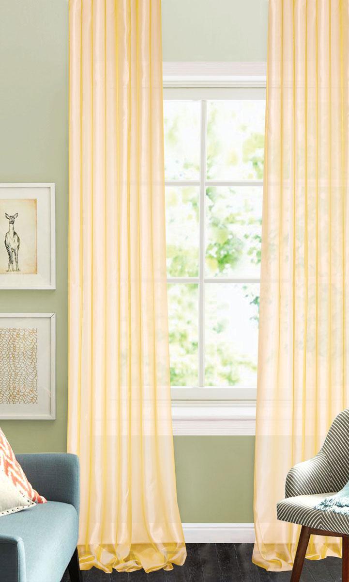 Штора готовая для гостиной Garden, на ленте, цвет: светло-бежевый, размер 300*260 см. CW875 V810503Изящная тюлевая штора Garden выполнена из структурной органзы (100% полиэстера). Полупрозрачная ткань, приятный цвет привлекут к себе внимание и органично впишутся в интерьер помещения. Такая штора идеально подходит для солнечных комнат. Мягко рассеивая прямые лучи, она хорошо пропускает дневной свет и защищает от посторонних глаз. Отличное решение для многослойного оформления окон. Штора крепится на карниз при помощи ленты, которая поможет красиво и равномерно задрапировать верх.
