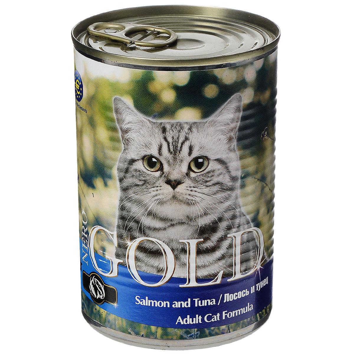 Консервы для кошек Nero Gold, с лососем и тунцом, 410 г0120710Консервы для кошек Nero Gold - полнорационный продукт, содержащий все необходимые витамины и минералы, сбалансированный для поддержания оптимального здоровья вашего питомца! Состав: мясо и его производные, филе курицы, филе лосося, филе тунца, злаки, витамины и минералы. Гарантированный анализ: белки 6%, жиры 4,5%, клетчатка 0,5%, зола 2%, влага 81%. Пищевые добавки на 1 кг продукта: витамин А 1600 МЕ, витамин D 140 МЕ, витамин Е 10 МЕ, таурин 300 мг, железо 24 мг, марганец 6 мг, цинк 15 мг, медь 1 мг, магний 200 мг, йод 0,3 мг, селен 0,2 мг.Вес: 410 г. Товар сертифицирован.