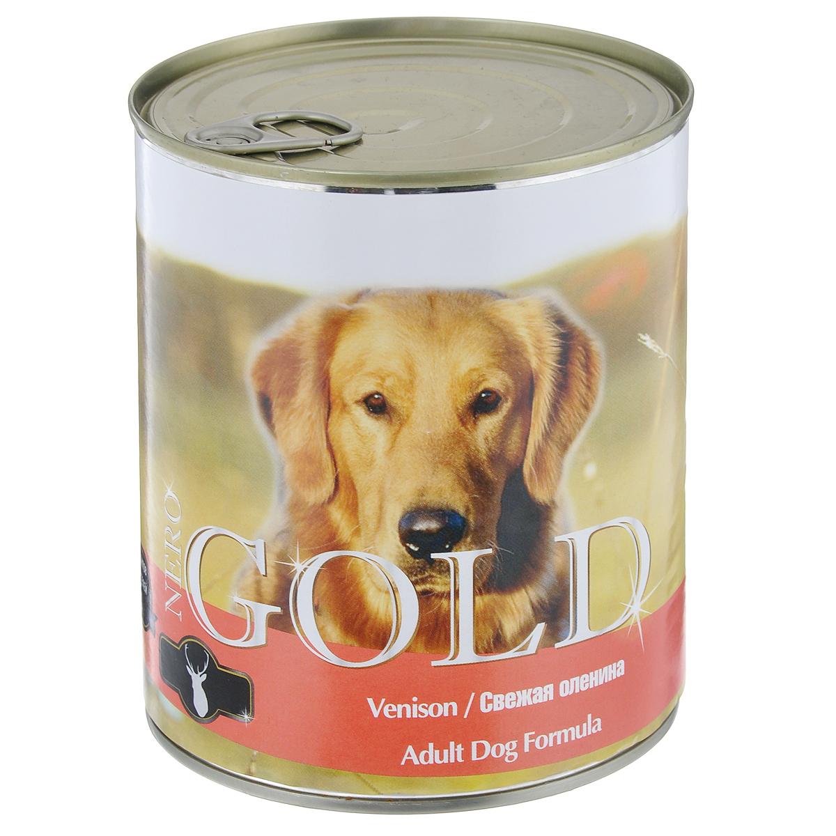 Консервы для собак Nero Gold, с олениной, 810 г10327Консервы для собак Nero Gold - полнорационный продукт, содержащий все необходимые витамины и минералы, сбалансированный для поддержания оптимального здоровья вашего питомца! Состав: мясо и его производные, филе курицы, оленина, злаки, витамины и минералы. Гарантированный анализ: белки 6,5%, жиры 4,5%, клетчатка 0,5%, зола 2%, влага 81%. Пищевые добавки на 1 кг продукта: витамин А 1600 МЕ, витамин D 140 МЕ, витамин Е 10 МЕ, железо 24 мг, марганец 6 мг, цинк 15 мг, медь 1 мг, магний 200 мг, йод 0,3 мг, селен 0,2 мг. Вес: 810 г. Товар сертифицирован.