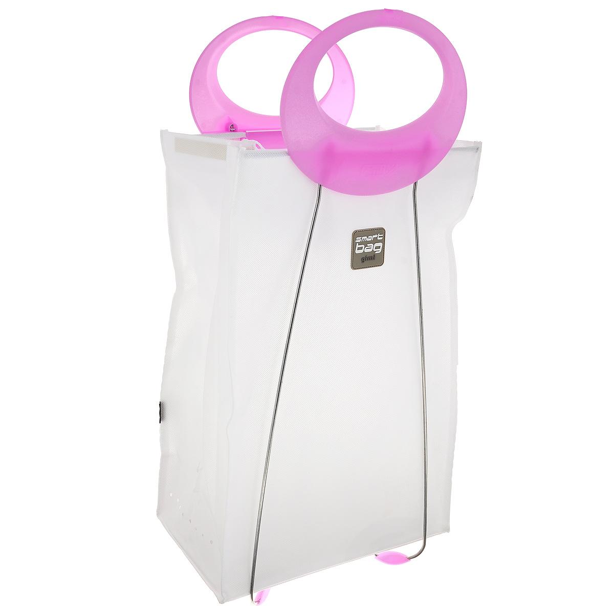 Корзина для белья Gimi Carlotta, цвет: белый, розовый, 39 см х 24 см х 78 см16740760_розовыйКорзина Gimi Carlotta, изготовленная из текстиля, предназначена для хранения белья. Каркас корзины выполнен из стали, благодаря чему она хорошо держит форму. Наверху у корзины имеются шнурки, завязав которые, можно скрыть содержимое корзины. В такой корзине удобно переносить белье в химчистку, так как она оснащена эргономичными пластиковыми ручками. В сложенном виде занимает минимум пространства. Легко складывается и раскладывается. Размер в сложенном виде: 39 см х 6 см х 78 см.