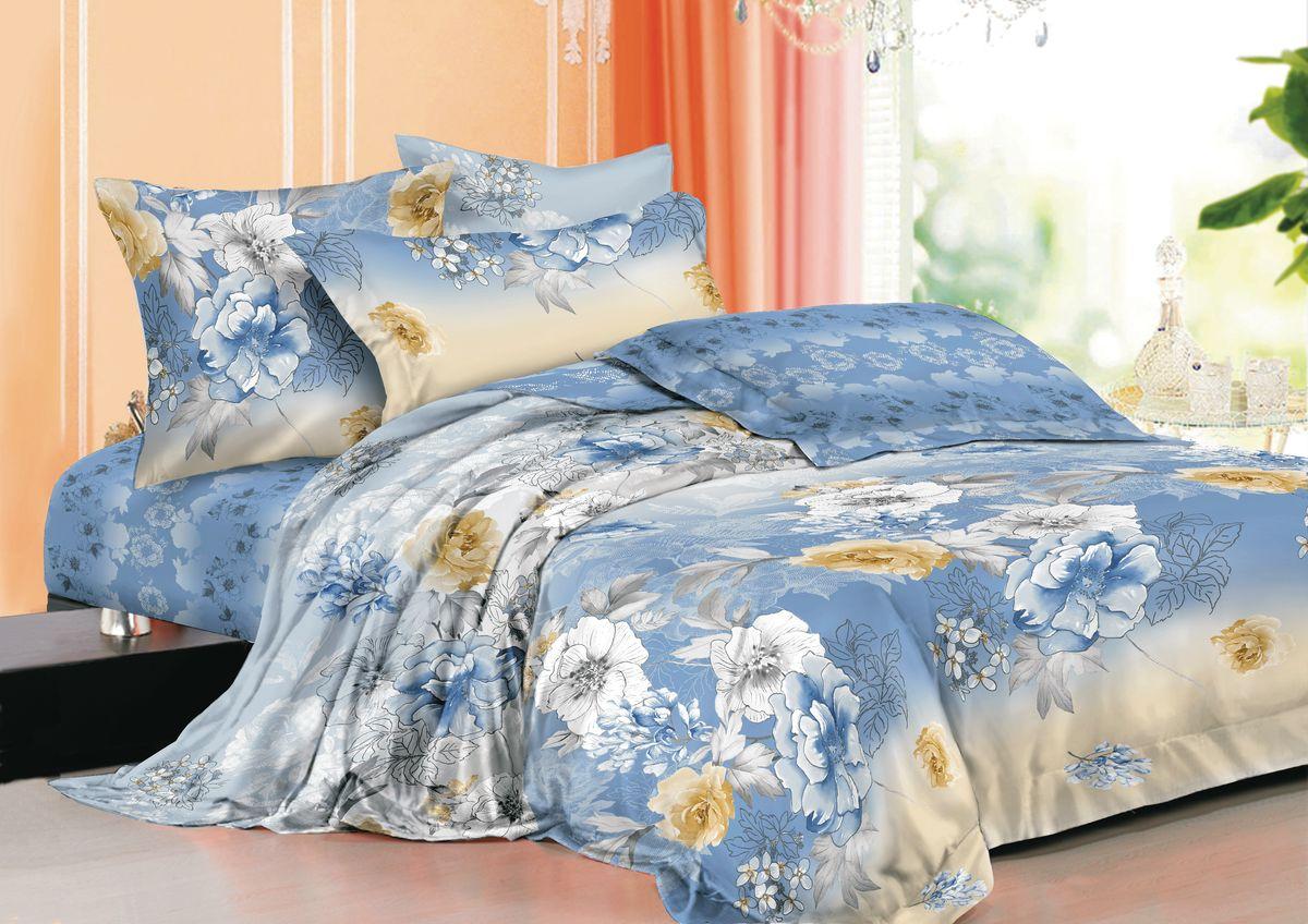 Комплект белья La Noche Del Amor, 2-спальный, наволочки 70х70, цвет: голубой, белый, черный. А-670-175-180-70PANTERA SPX-2RSВеликолепный комплект постельного белья La Noche Del Amor выполнен из сатина, натурального 100% хлопка. Постельное белье из сатина очень прочное и долговечное. Такой комплект выдержит многократное количество стирок, а яркие цвета не начнут тускнеть очень продолжительное время. Сатин практически не мнется, не электризуется, великолепно впитывает влагу и отлично вентилируется. Комплект состоит из пододеяльника, простыни и двух наволочек. Изделия оформлены цветочным принтом. Благодаря такому комплекту постельного белья вы создадите неповторимую атмосферу в вашей спальне.