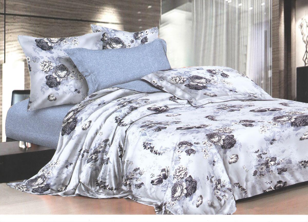 Комплект белья La Noche Del Amor, 1,5-спальный, наволочки 70х70, цвет: серо-голубой, черный, белый. А-672-143-150-70А-672-143-150-70Великолепный комплект постельного белья La Noche Del Amor выполнен из сатина, натурального 100% хлопка. Постельное белье из сатина очень прочное и долговечное. Такой комплект выдержит многократное количество стирок, а яркие цвета не начнут тускнеть очень продолжительное время. Сатин практически не мнется, не электризуется, великолепно впитывает влагу и отлично вентилируется. Комплект состоит из пододеяльника, простыни и двух наволочек. Изделия оформлены цветочным принтом. Благодаря такому комплекту постельного белья вы создадите неповторимую атмосферу в вашей спальне.