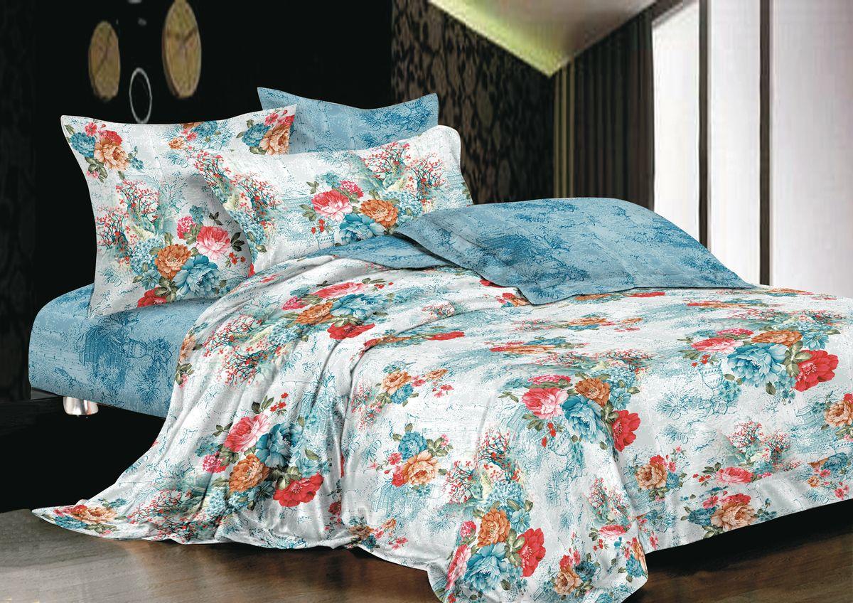 Комплект белья La Noche Del Amor, 1,5-спальный, наволочки 70х70, цвет: серо-голубой, белый, красный. А-673-143-150-70279523Великолепный комплект постельного белья La Noche Del Amor выполнен из сатина, натурального 100% хлопка. Постельное белье из сатина очень прочное и долговечное. Такой комплект выдержит многократное количество стирок, а яркие цвета не начнут тускнеть очень продолжительное время. Сатин практически не мнется, не электризуется, великолепно впитывает влагу и отлично вентилируется. Комплект состоит из пододеяльника, простыни и двух наволочек. Изделия оформлены цветочным принтом. Благодаря такому комплекту постельного белья вы создадите неповторимую атмосферу в вашей спальне.