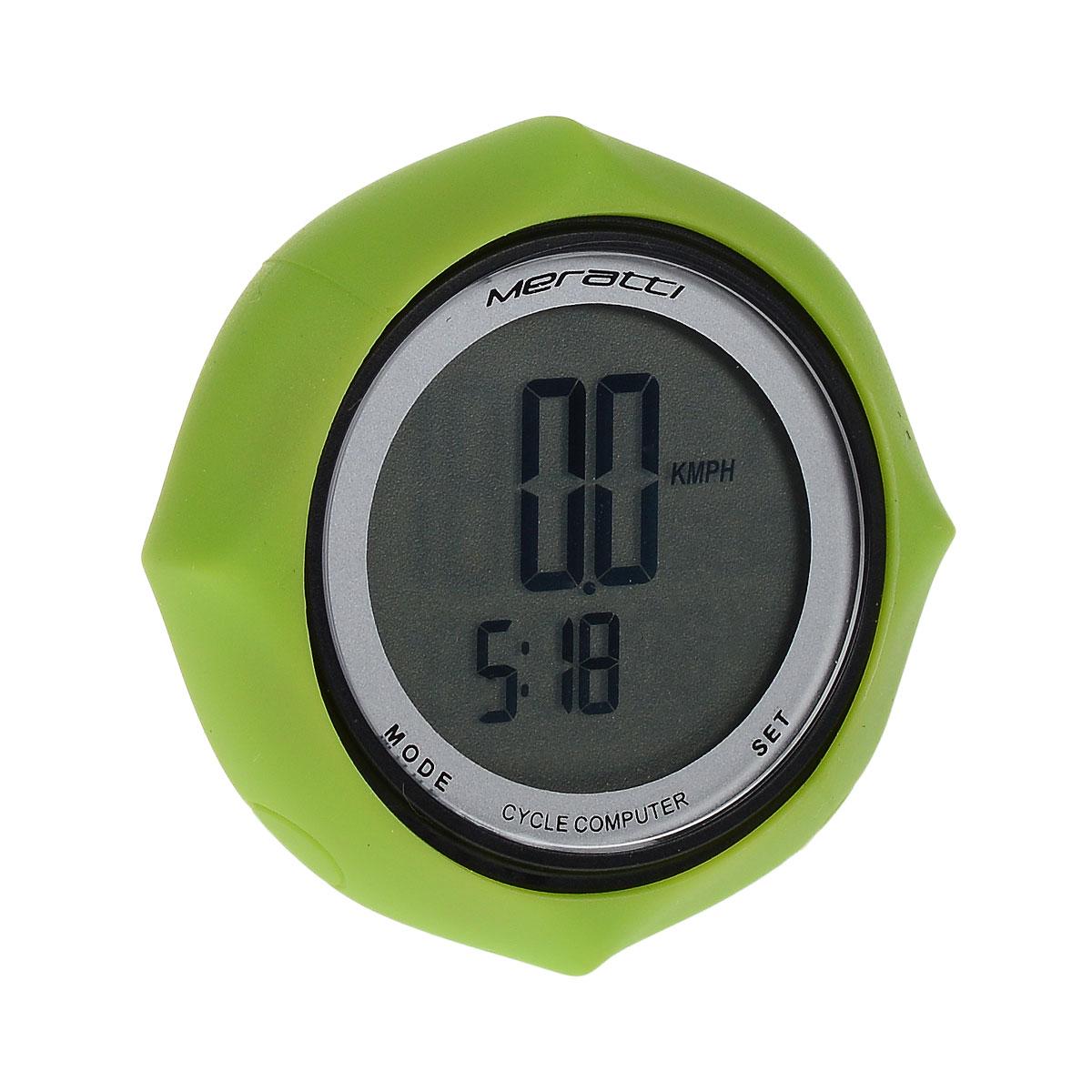 Велокомпьютер проводной Meratti, цвет: черный, зеленыйC011Проводной велокомпьютер Meratti выполнен из высококачественного прочного ПВХ с силиконовым обрамлением. Компьютер питается от 1 батарейки CR2032 (в комплекте). Показания монитора: время (часы, минуты, секунды), скорость, средняя скорость, максимальная скорость, тенденция скорости, время поездки, суммарное время пробега, общий пробег, общий расход калорий. Режимы: SCAN.