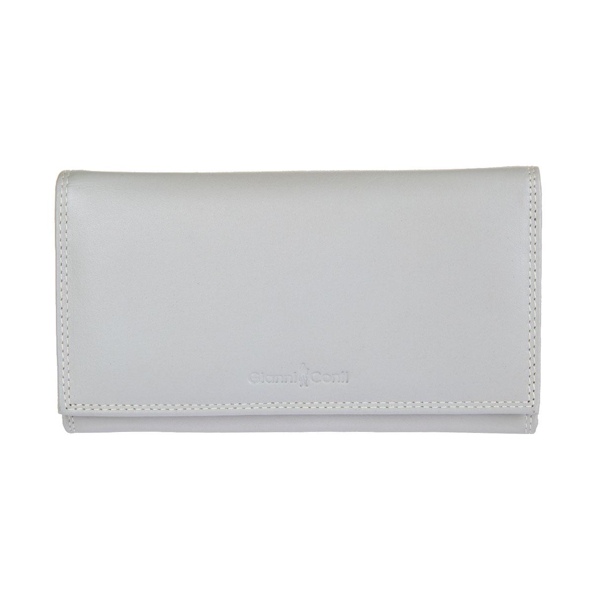 Портмоне женское Gianni Conti, цвет: серый. 18080211808021 pearl ak multiСтильное женское портмоне Gianni Conti выполнено из натуральной кожи. Изделие закрывается на клапан с кнопкой, оформленный тиснением в виде названия бренда производителя. Портмоне содержит три отделения для купюр, пришивной карман для документов с отделением на застежке-молнии, отделение для мелочи, закрывающееся на защелку, шесть кармашков для визиток и пластиковых карт (один - с окошком из прозрачного пластика) и два потайных кармана. Портмоне упаковано в фирменную картонную коробку. Оригинальное портмоне подчеркнет вашу индивидуальность и изысканный вкус, а также станет замечательным подарком человеку, ценящему качественные и практичные вещи.