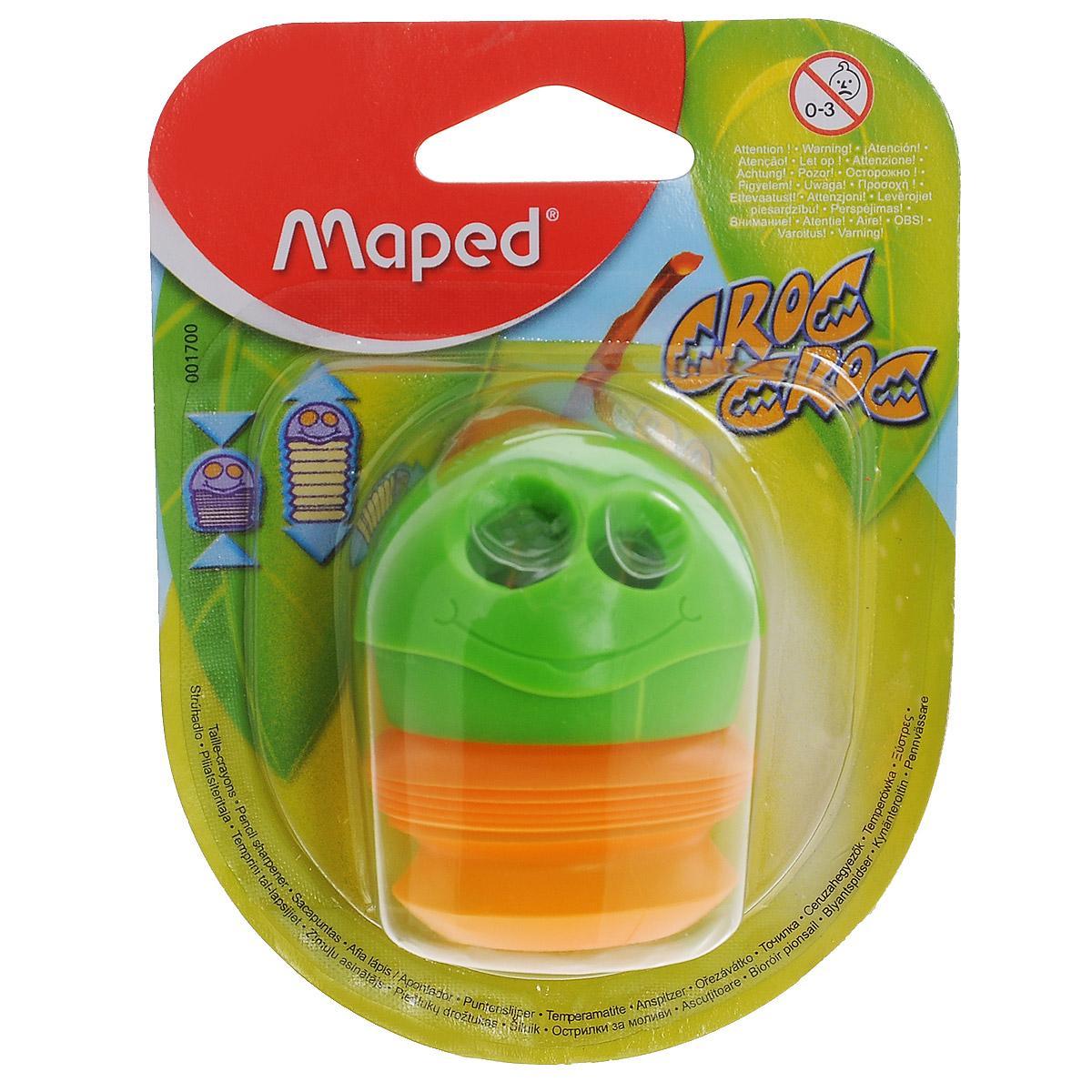 Точилка Maped Сroc-Croc, цвет: зеленый, оранжевыйACL0010BЗабавная точилка Сroc-Croc, выполненная из пластика и металла, предназначена для затачивания карандашей различного диаметра. Точилка с двумя отверстиями оснащена гибким вместительным контейнером для сбора стружки.Благодаря оригинальному дизайну и функциональности, точилка Сroc-Crocстанет любимой канцелярской принадлежностью вашего ребенка.