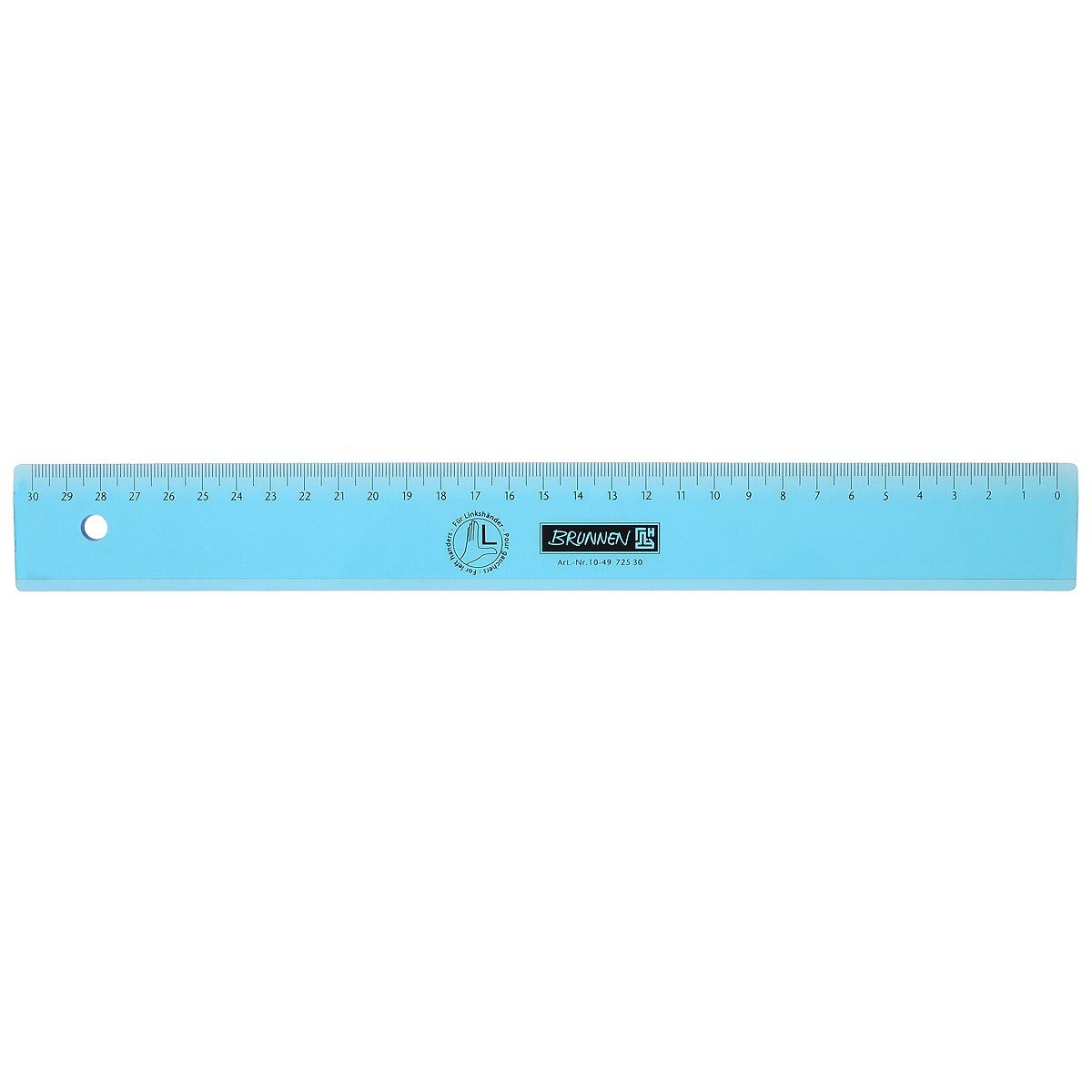 Линейка для левши Brunnen, цвет: голубой, 30 см62178_голубойЛинейка Brunnen, длиной 30 см, выполнена из прозрачного пластика голубого цвета. Линейка предназначена специально для левшей. Шкала на линейке расположена справа налево. Линейка Brunnen - это незаменимый атрибут, необходимый школьнику или студенту, упрощающий измерение и обеспечивающий ровность проводимых линий.