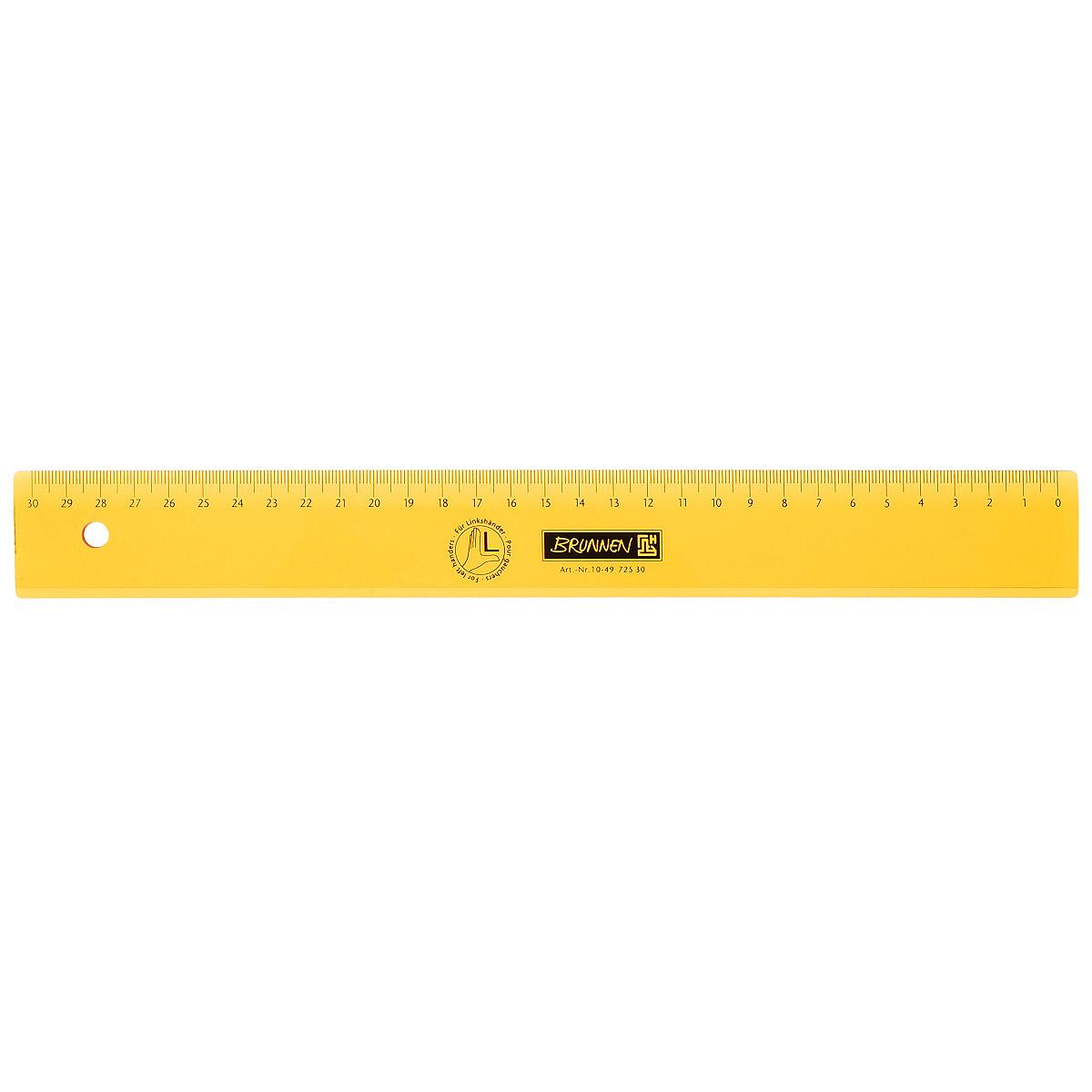 Линейка для левши Brunnen, цвет: желтый, 30 см62178_желтыйЛинейка Brunnen, длиной 30 см, выполнена из прозрачного пластика желтого цвета. Линейка предназначена специально для левшей. Шкала на линейке расположена справа налево. Линейка Brunnen - это незаменимый атрибут, необходимый школьнику или студенту, упрощающий измерение и обеспечивающий ровность проводимых линий.