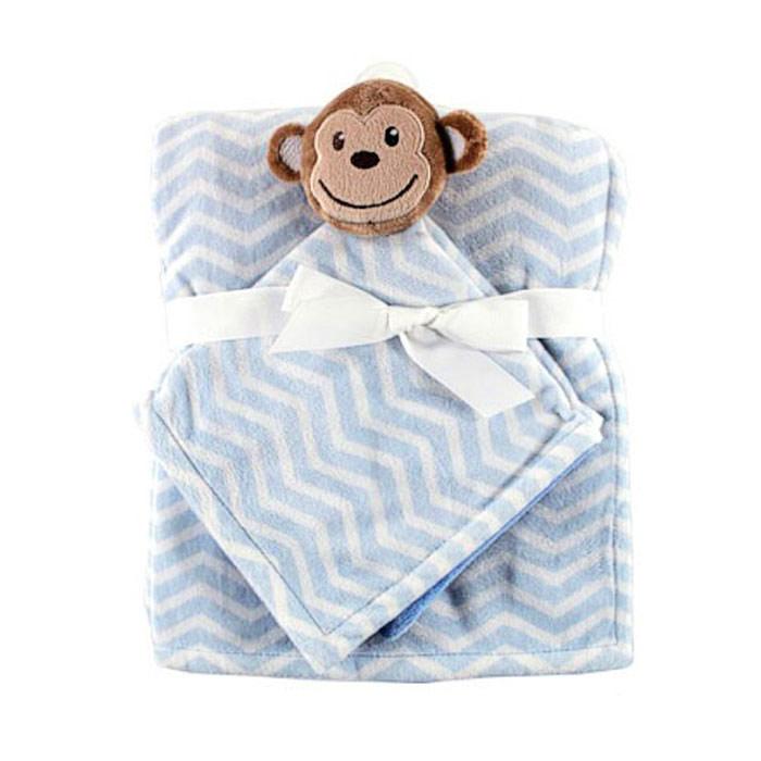 """Плед детский """"Hudson Baby"""", с игрушкой-салфеткой, цвет: голубой, 76 см х 101 см 50446"""
