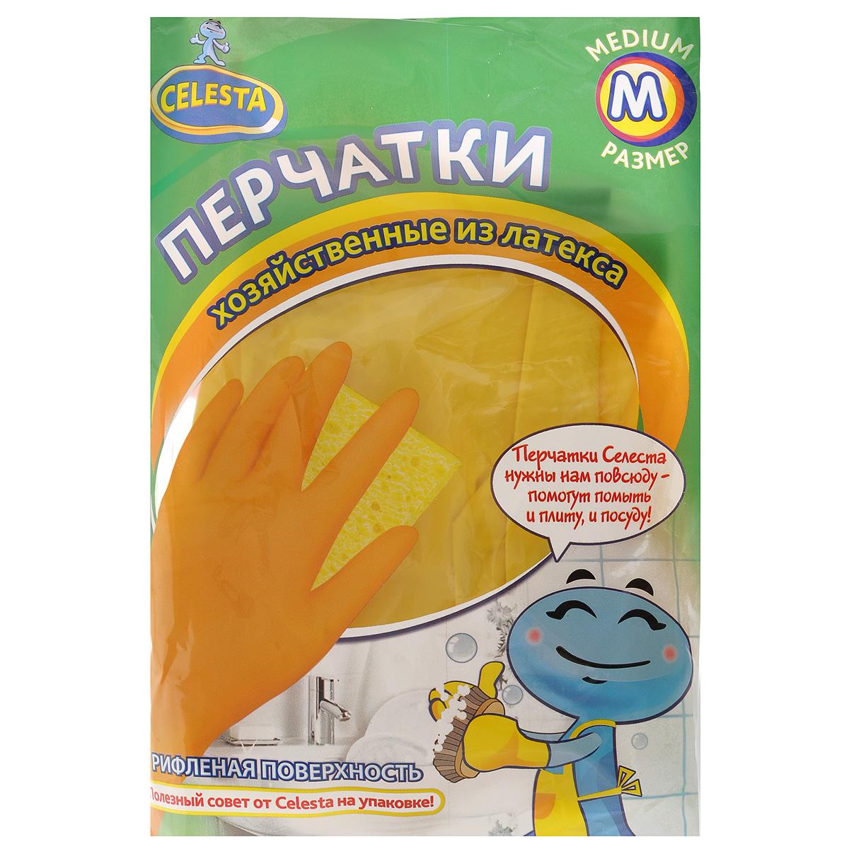 Перчатки хозяйственные Celesta, цвет: желтый. Размер М10503Универсальные перчатки Celesta произведены из высококачественного латекса, рифленая поверхность позволяет удерживать мокрые предметы. Перчатки подходят для различных видов домашних работ. Перчатки эластичны, хорошо облегают руку.