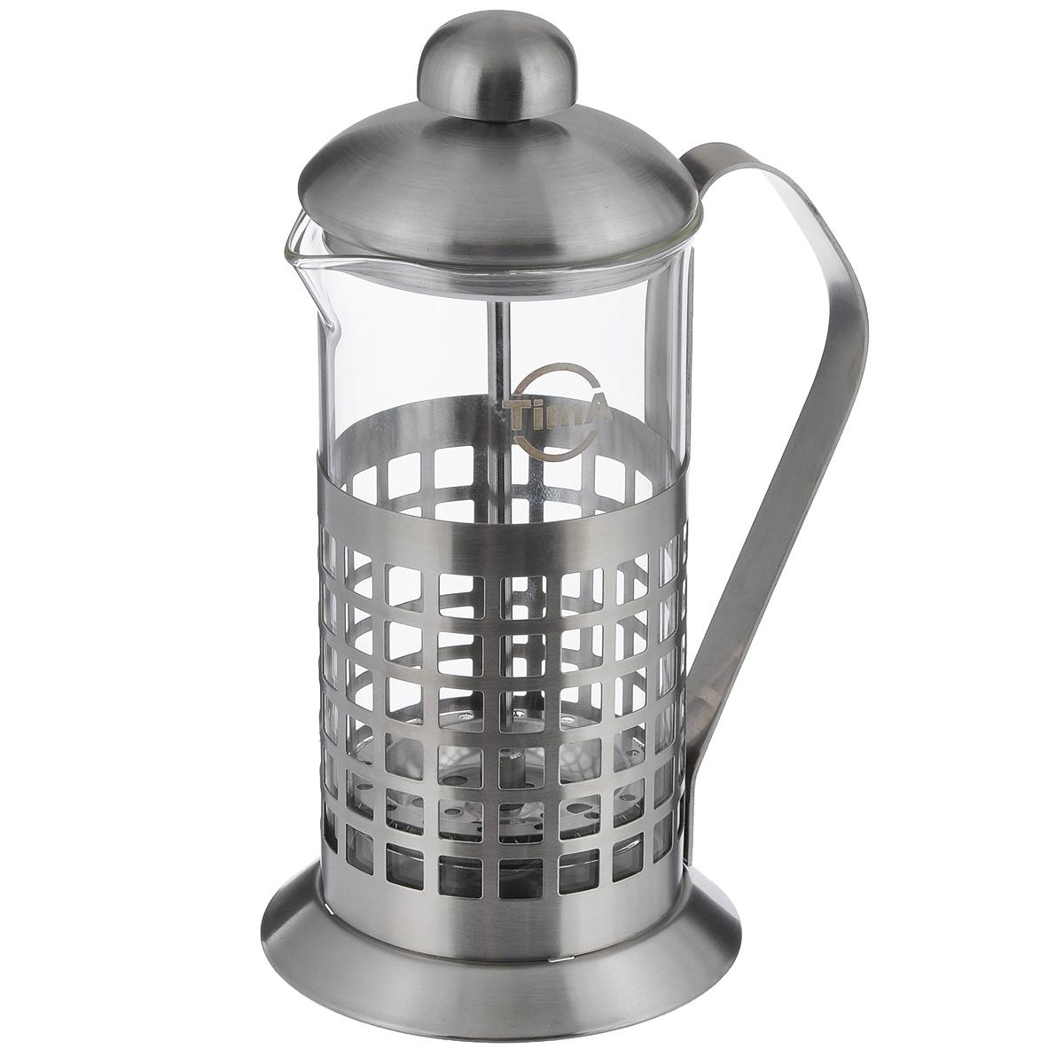 Чайник заварочный TimA Бисквит, 350 млPB-350Чайник заварочный TimA Бисквит выполнен в виде френч-пресса и представляет собой гибрид заварочного чайника и кофейника. Колба выполнена из жаропрочного стекла, корпус, крышка и поршень изготовлены из нержавеющей стали. Изделие легко разбирается и моется. Прозрачные стенки чайника дают возможность наблюдать за насыщением напитка, а поршень позволяет с легкостью отжать самый сок от заварки и получить напиток с насыщенным вкусом. Заварочный чайник - постоянно используемый предмет посуды, который необходим на каждой кухне. Френч-пресс TimA Бисквит займет достойное место среди аксессуаров на вашей кухне. Можно мыть в посудомоечной машине. Диаметр (по верхнему краю): 7 см. Высота чайника: 18,5 см. Объем: 350 мл.