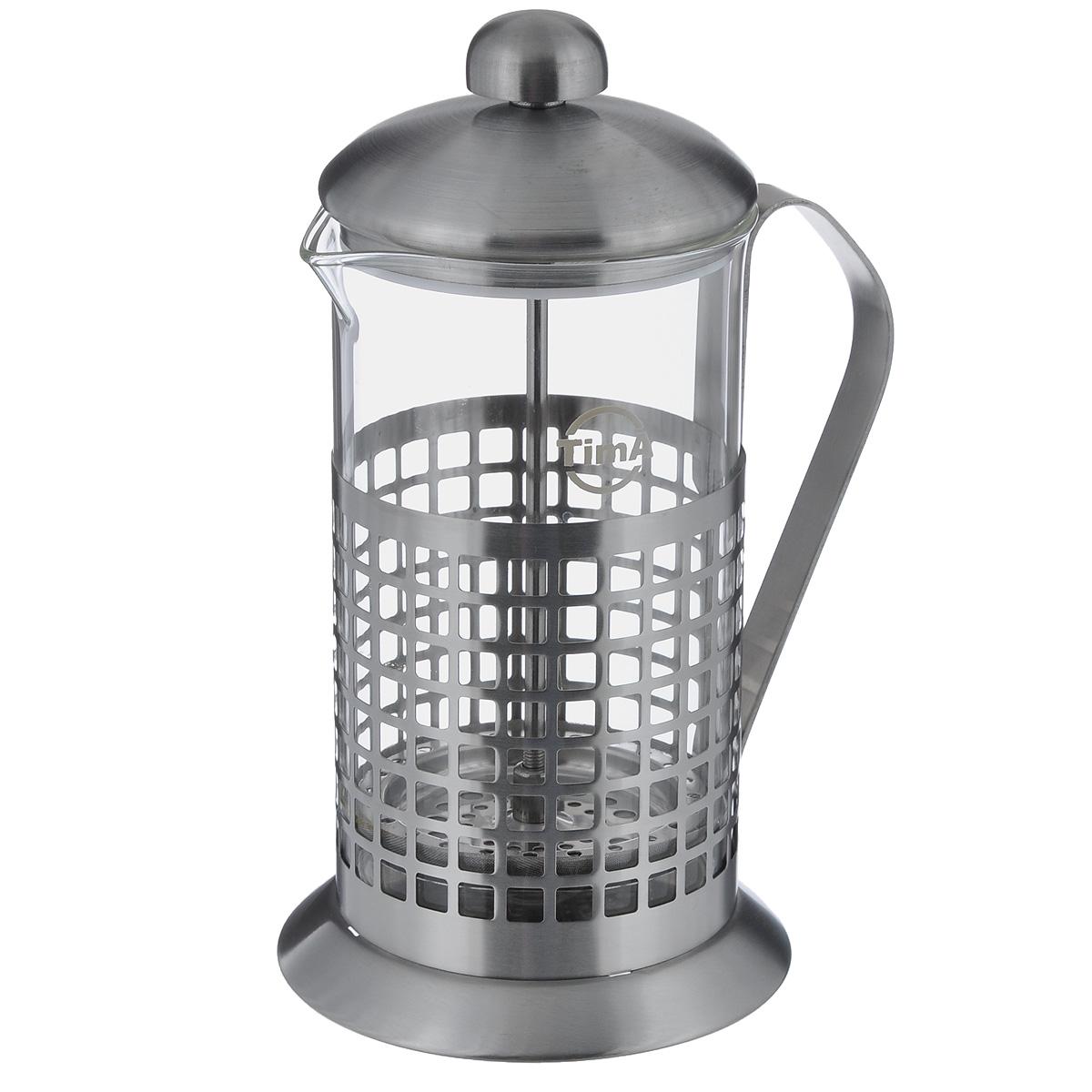 Чайник заварочный TimA Бисквит, 600 млVT-1520(SR)Чайник заварочный TimA Бисквит выполнен в виде френч-пресса и представляет собой гибрид заварочного чайника и кофейника. Колба выполнена из жаропрочного стекла, корпус, крышка и поршень изготовлены из нержавеющей стали. Изделие легко разбирается и моется. Прозрачные стенки чайника дают возможность наблюдать за насыщением напитка, а поршень позволяет с легкостью отжать самый сок от заварки и получить напиток с насыщенным вкусом. Заварочный чайник - постоянно используемый предмет посуды, который необходим на каждой кухне. Френч-пресс TimA Бисквит займет достойное место среди аксессуаров на вашей кухне. Можно мыть в посудомоечной машине. Диаметр (по верхнему краю): 9 см. Высота чайника (с крышкой): 21 см. Объем: 600 мл.