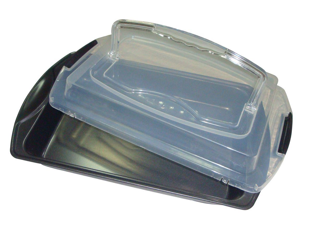 Противень Bekker Koch, с крышкой, с антипригарным покрытием, 41 см х 25 см х 9,5 см94672Противень Bekker Koch изготовлен из углеродистой стали с антипригарным покрытием Xynflon. Пища не пригорает и не прилипает к стенкам, что облегчает процесс сервировки и мытья. Изделие имеет прямоугольную форму и прекрасно подходит для приготовления запеканок, жаркое, тушения мяса и овощей. Противень оснащен пластиковой прозрачной крышкой, которая плотно закрывается на две защелки и оснащена ручкой. Можно мыть в посудомоечной машине и использовать в духовом шкафу.