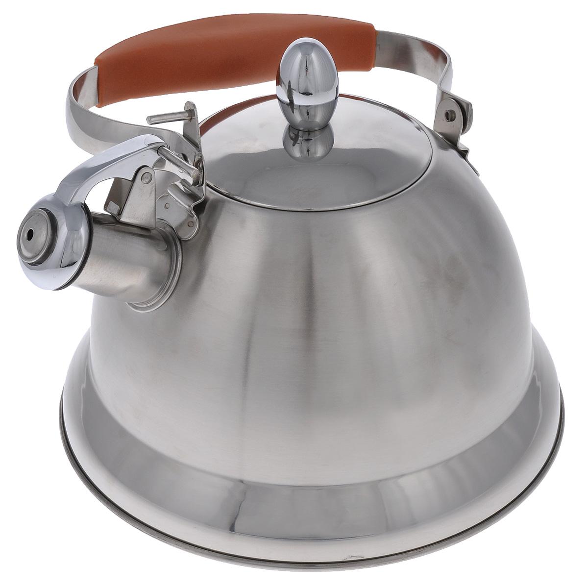 Чайник Mayer & Boch со свистком, цвет: оранжевый, стальной, 3 л. 2320623206Чайник Mayer & Boch выполнен из высококачественной нержавеющей стали, что обеспечивает долговечность использования. Сочетание матовой и глянцевой поверхности придает посуде эстетичный внешний вид. Ручка оснащена силиконовой вставкой для предотвращения ожогов на руках. Чайник снабжен свистком и устройством для открывания носика. Можно мыть в посудомоечной машине. Пригоден для газовой, электрической, стеклокерамической, галогеновой плиты. Диаметр (по верхнему краю): 10 см. Высота чайника (без учета крышки и ручки): 14 см. Диаметр основания: 22 см.