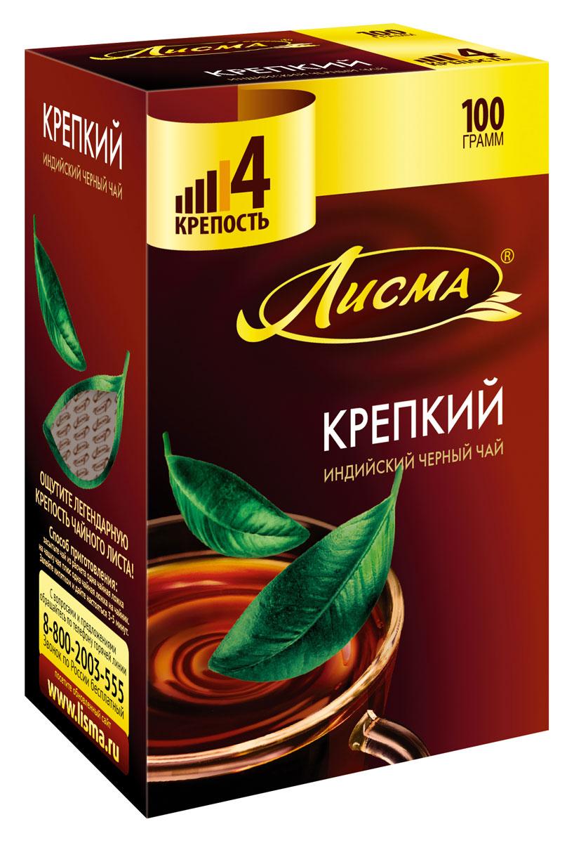 Лисма Крепкий черный листовой чай, 100 г0120710Лисма Крепкий - индийский черный байховый чай. Ощутите крепость легендарного чайного листа!