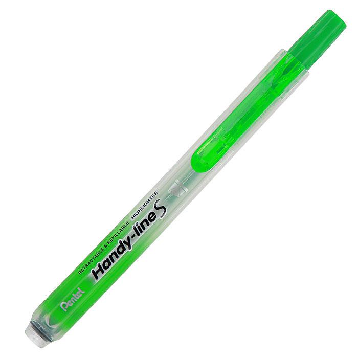 Pentel Текстовыделитель Handy-Lines, цвет: салатовыйPSXS15-KТекстовыделитель Handy-Lines с функцией чистый карман салатового цвета станет незаменимым как на столе школьника, так и студента. Стержень автоматически убирается при нажатии на кнопку. Такой маркер никогда не испачкает вашу одежду! Обеспечивает ровные четкие линии толщиной 1,0-4,5 мм.