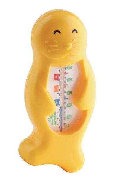 Термометр для воды Тюлень, от 0 месяцев19107Имеет удобную шкалу с отметкой оптимальной температуры для купания малыша – 37°С – в виде значка с улыбающимся личиком. Может также использоваться для измерения температуры воздуха. Не содержит ртути.