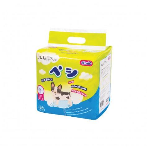Пеленки для домашних животных NekiZoo, размер M(60х60см), 20 шт.PP1316Пеленки для домашних животных быстро пропускают влагу внутрь, поверхность остается сухой. Верхний слой из нежного и прочного материала, устойчивого к повреждениям. Клейкие полоски на обратной стороне пеленки надежно фиксируют пеленки на поверхности. Цвет: синий, оранжевый
